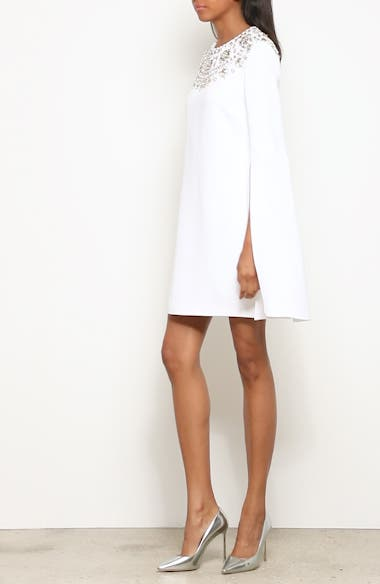 Crystal Embellished Split Sleeve Double Crepe Sable Dress, video thumbnail