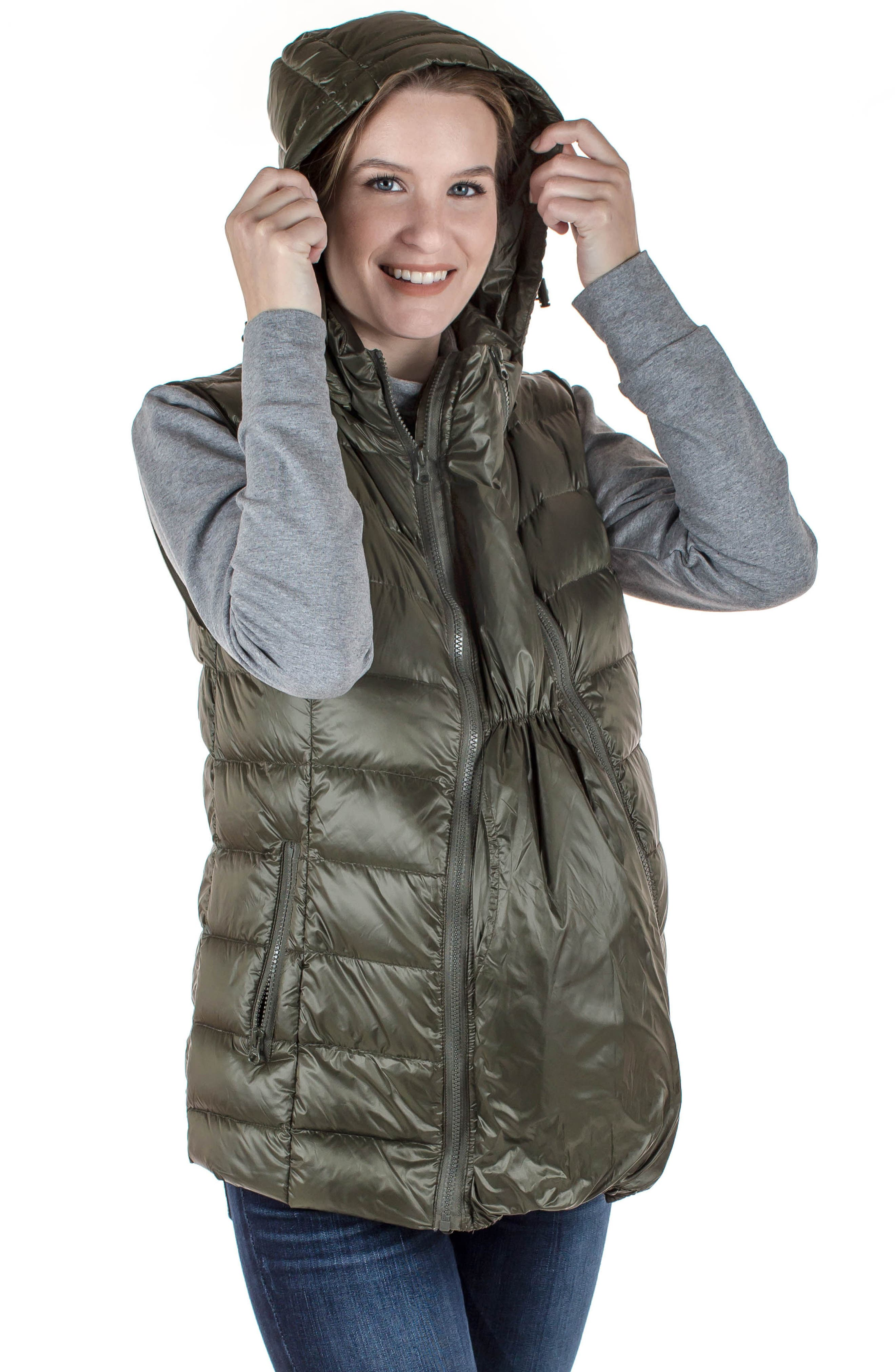 MODERN ETERNITY, Lightweight Puffer Convertible 3-in-1 Maternity Jacket, Alternate thumbnail 9, color, KHAKI GREEN