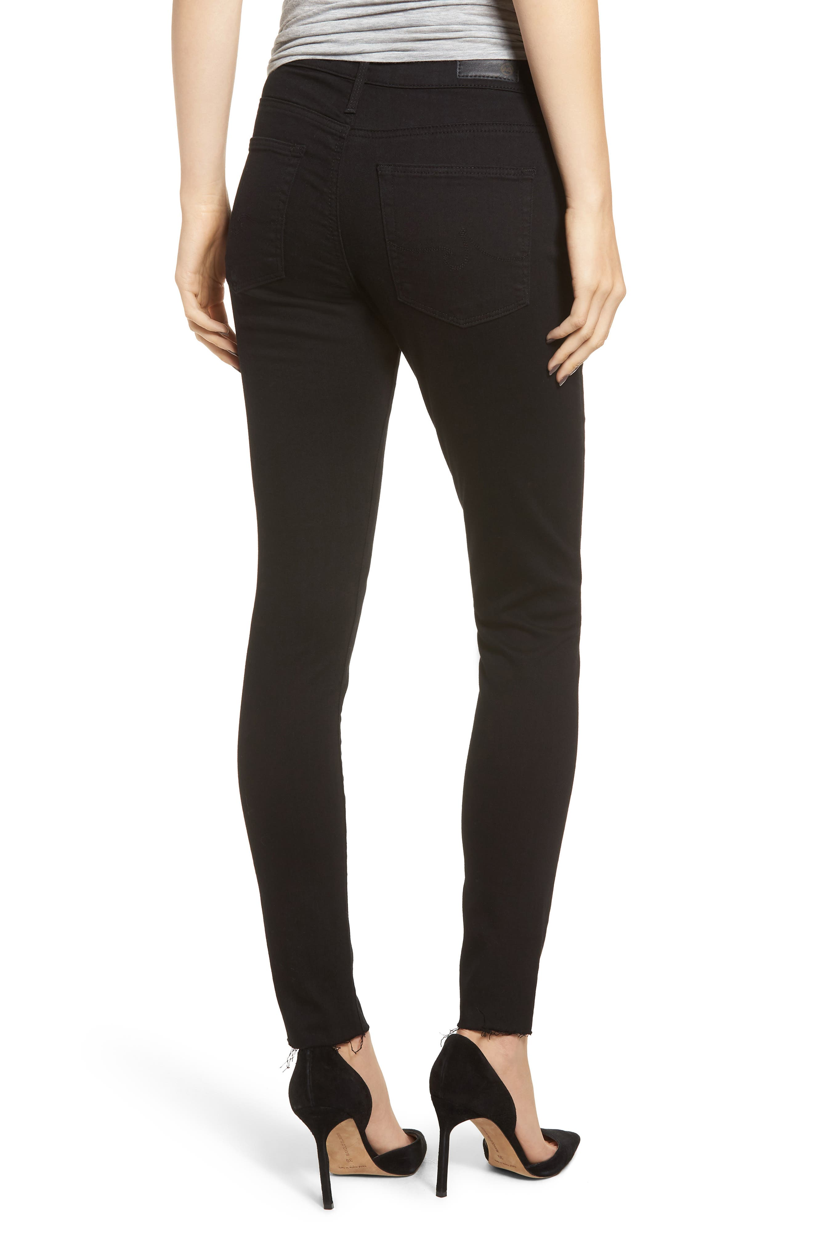 AG, The Farrah High Waist Raw Hem Ankle Skinny Jeans, Alternate thumbnail 2, color, BLACK INK