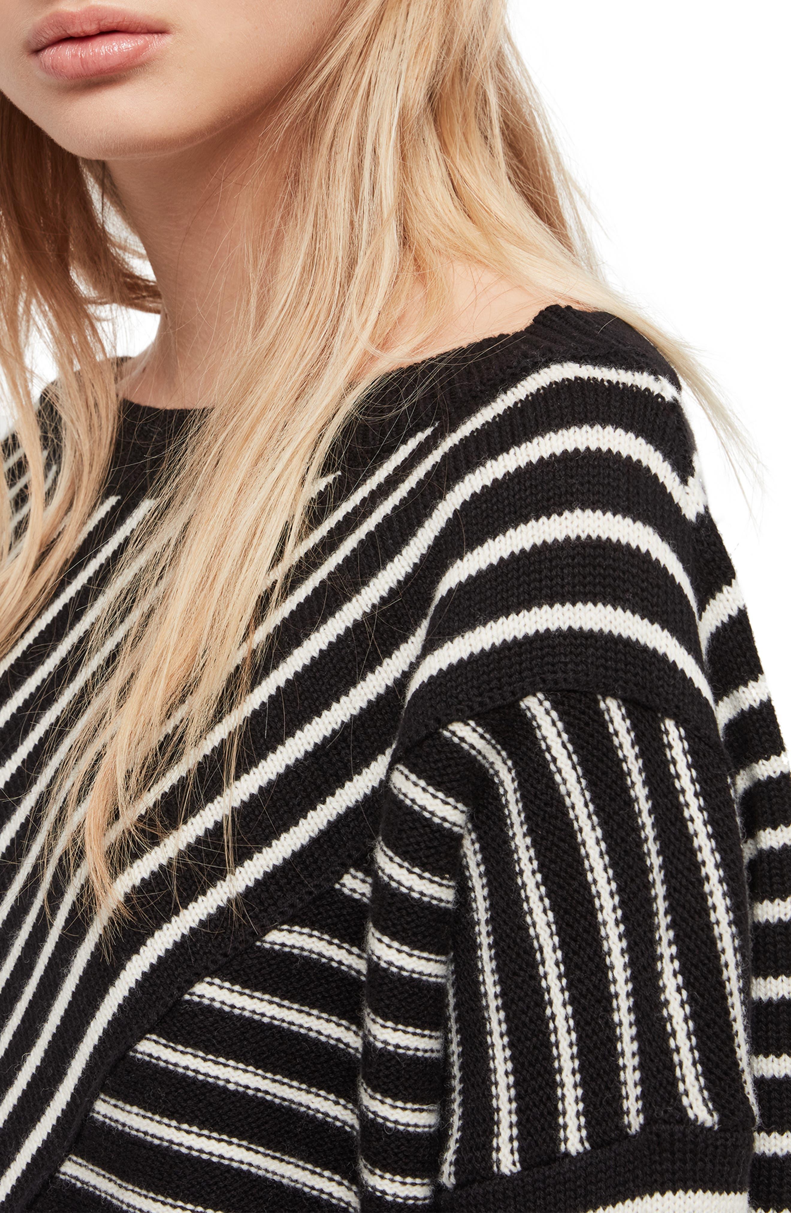 ALLSAINTS, Vani Sweater, Alternate thumbnail 4, color, BLACK/ CHALK WHITE