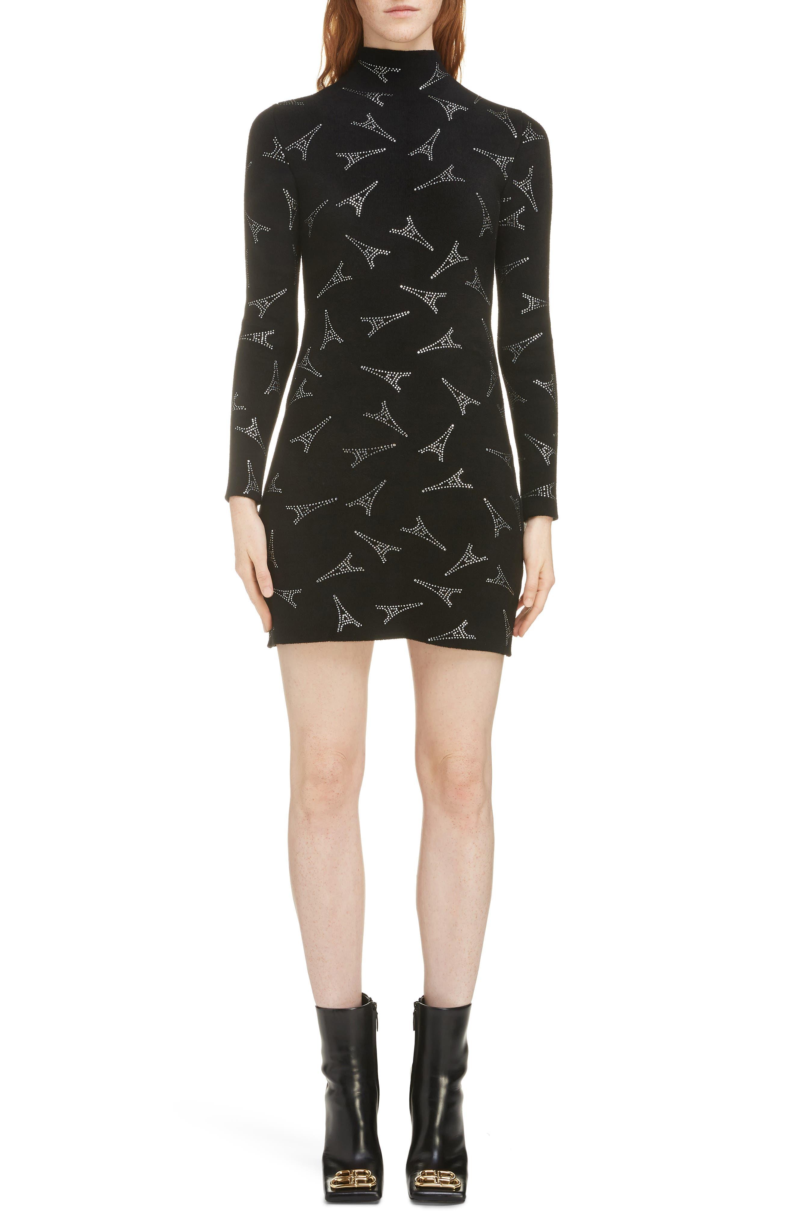 Balenciaga Embellished Eiffel Tower Body-Con Sweater Dress, Black