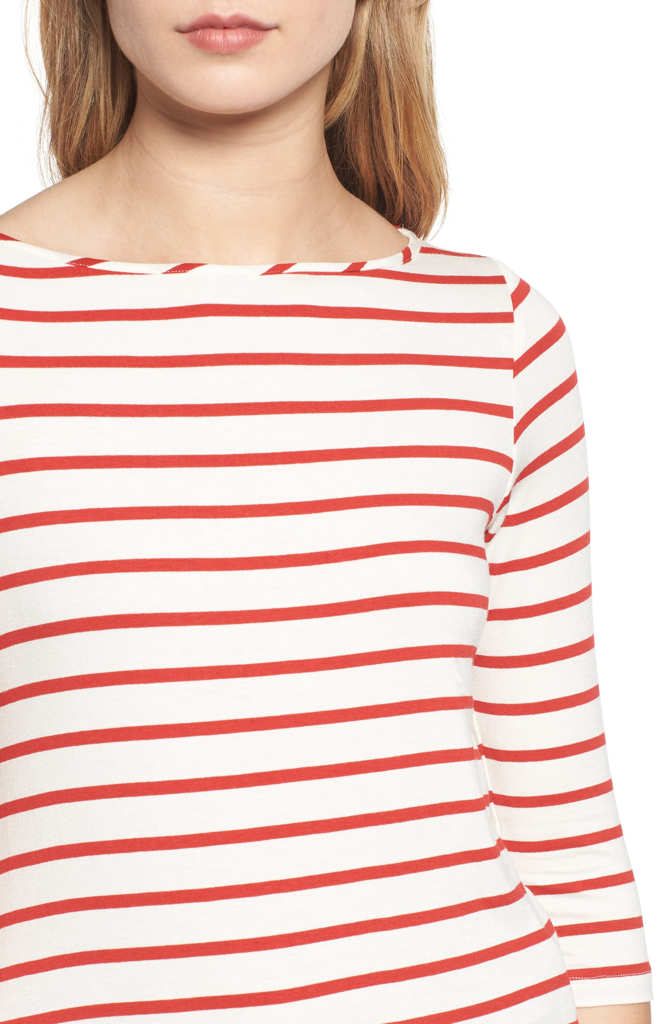 AMOUR VERT, Francoise Stretch Jersey Top, Alternate thumbnail 4, color, POPPY STRIPE