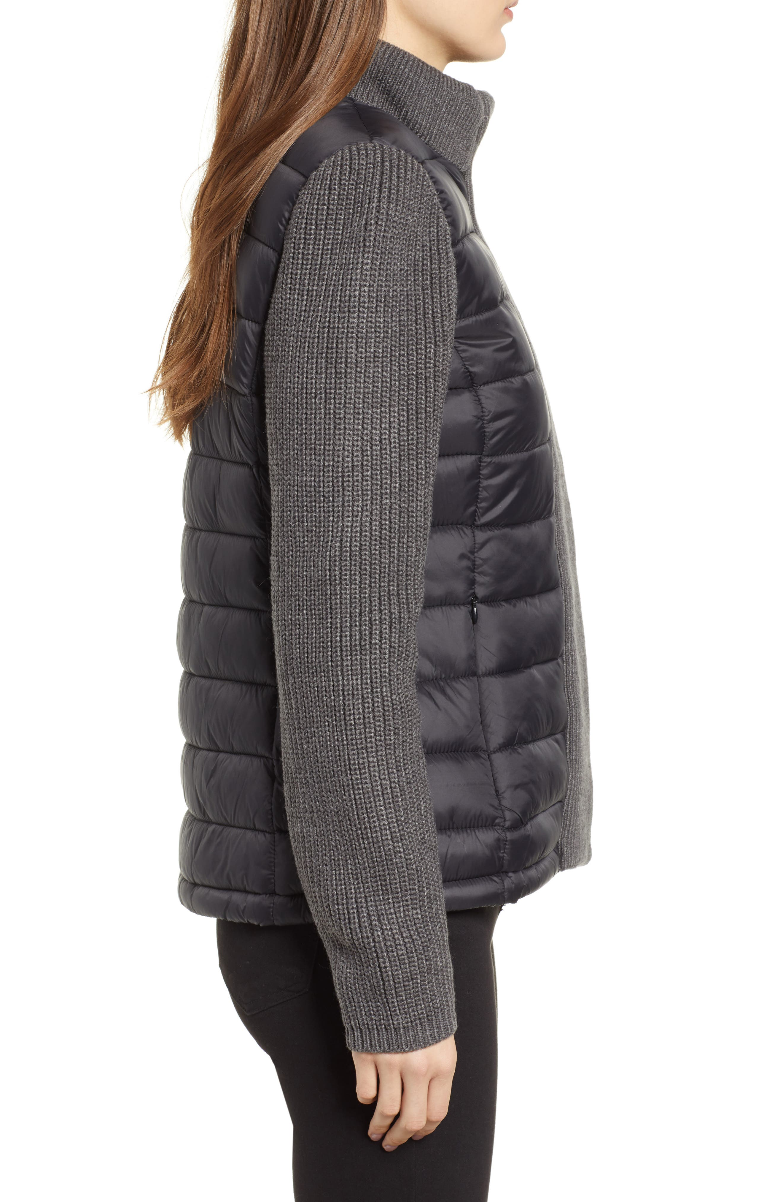 MARC NEW YORK, Mark New York Packable Knit Trim Puffer Jacket, Alternate thumbnail 3, color, BLACK/ GREY