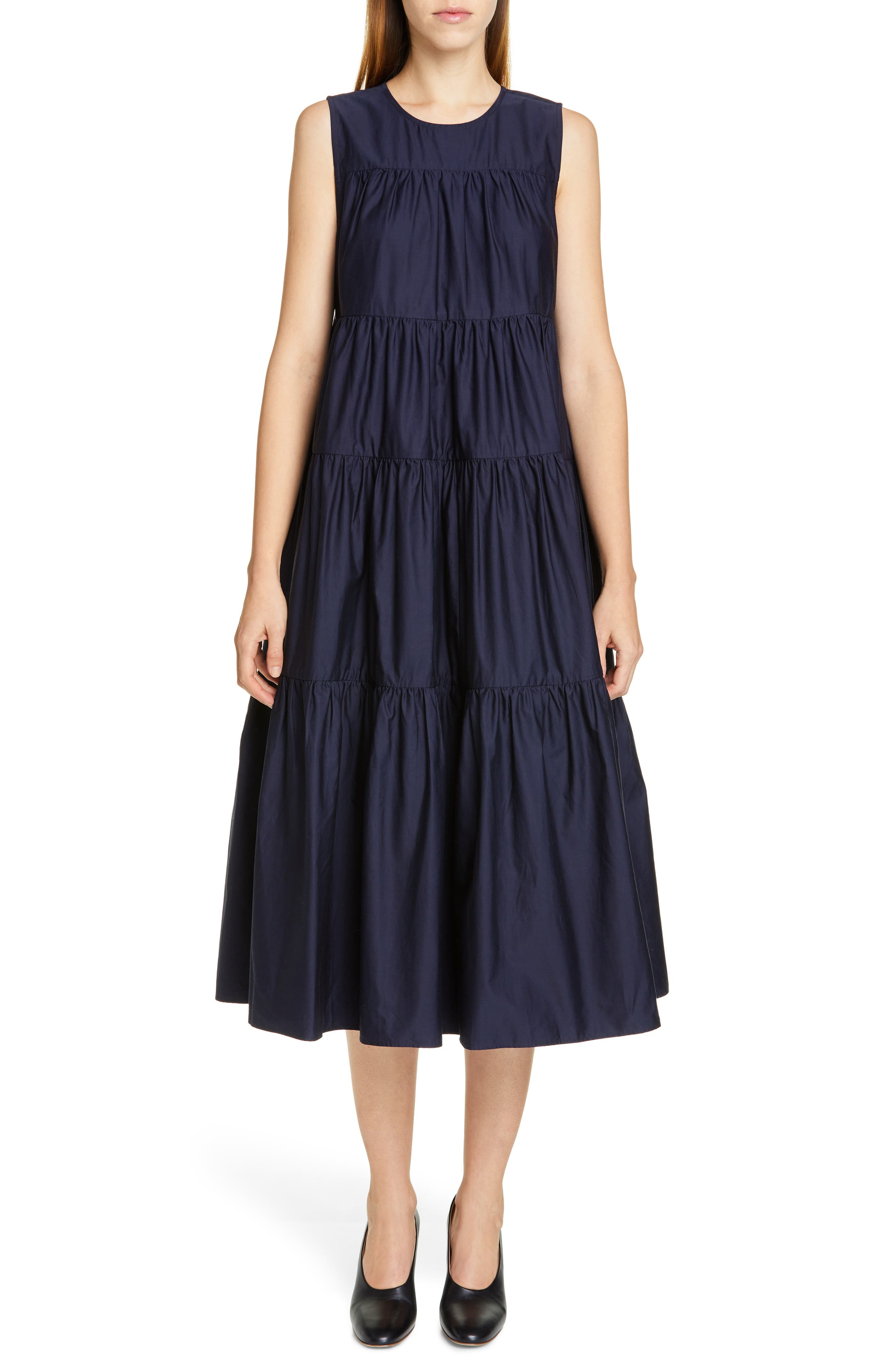 CO Tiered Cotton Midi Dress, Main, color, NAVY