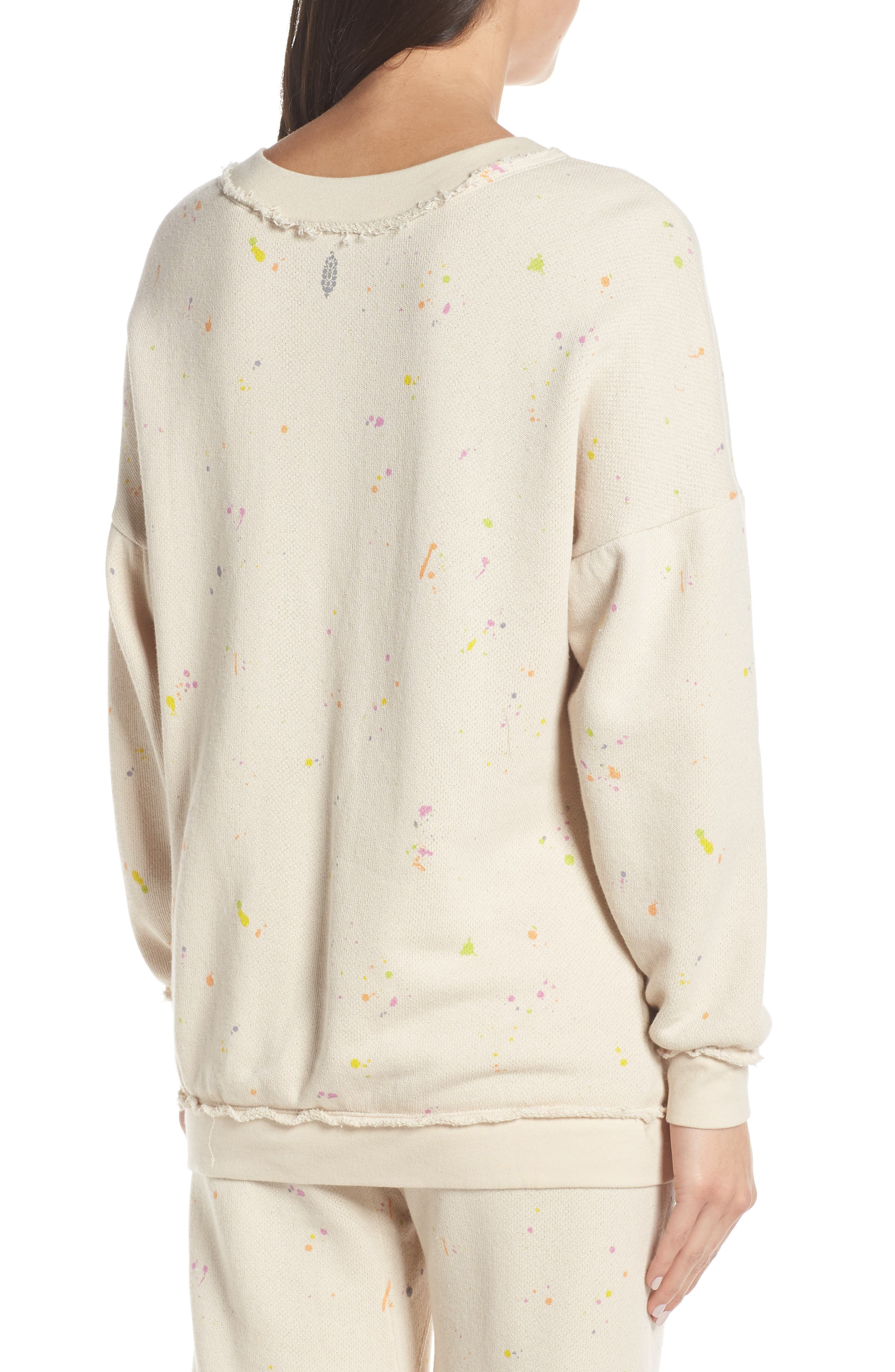 FREE PEOPLE MOVEMENT, Make It Count Printed Sweatshirt, Alternate thumbnail 2, color, IVORY