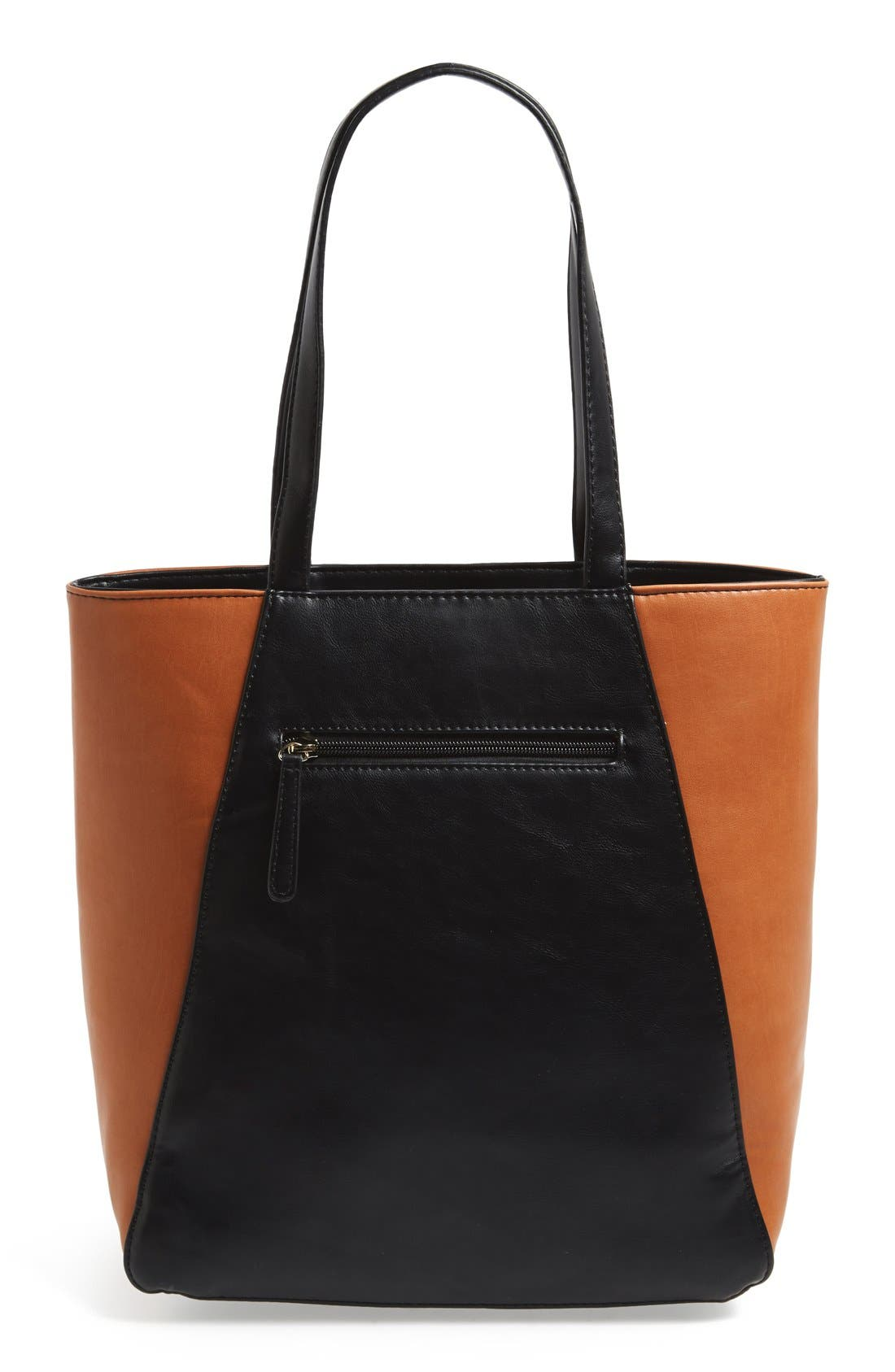 SOLE SOCIETY, Faux Leather Tote, Alternate thumbnail 2, color, 001