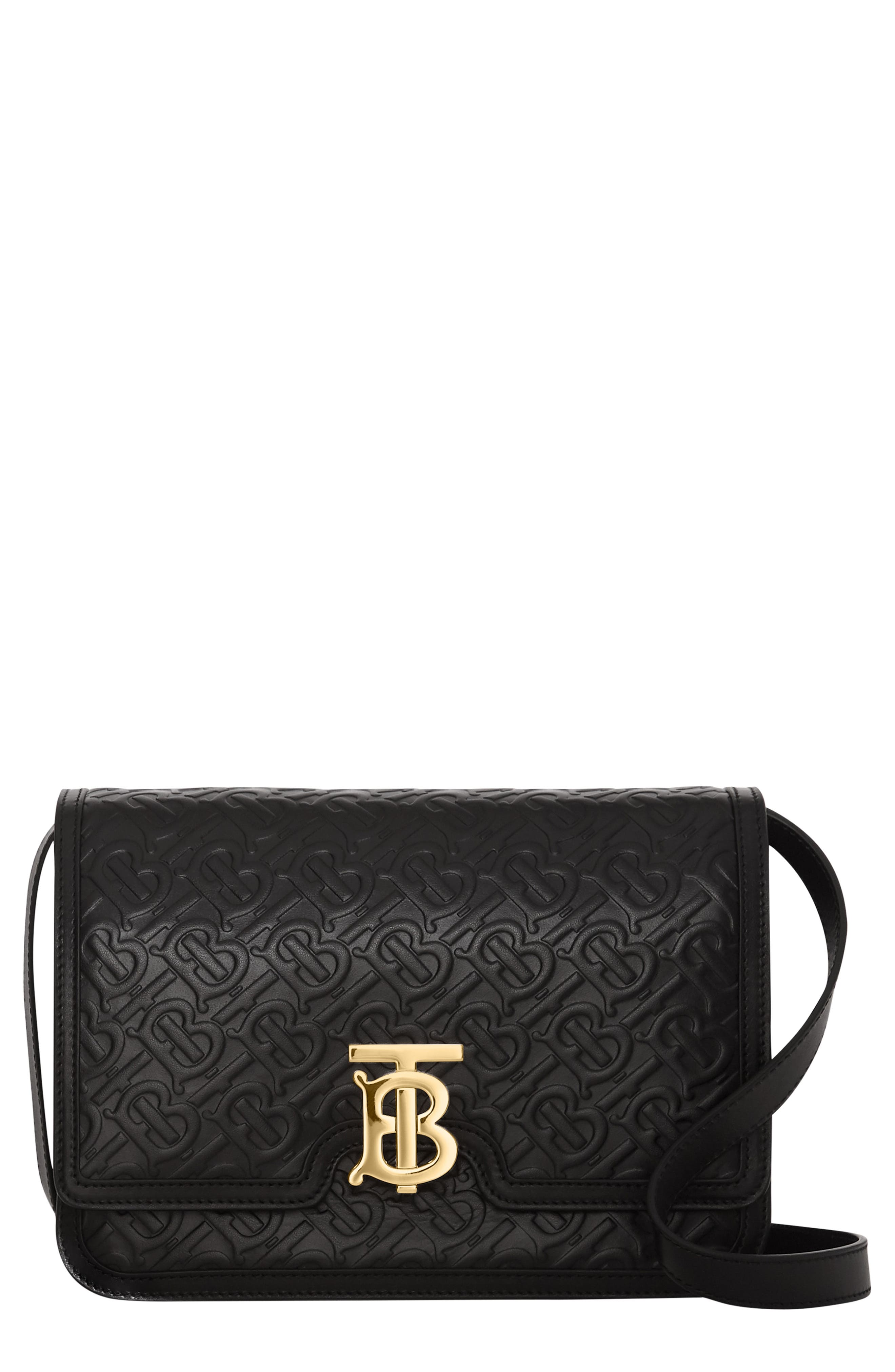 BURBERRY Medium TB Monogram Leather Bag, Main, color, BLACK