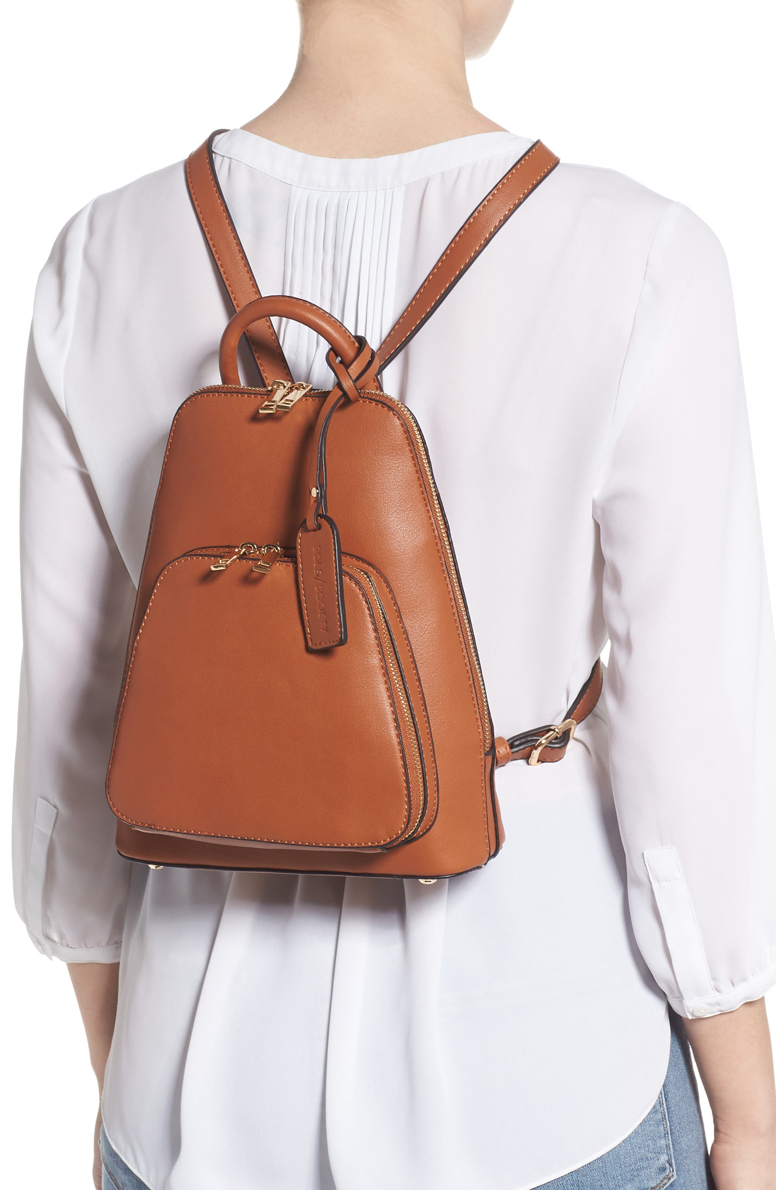 SOLE SOCIETY, Aushan Faux Leather Backpack, Alternate thumbnail 2, color, COGNAC