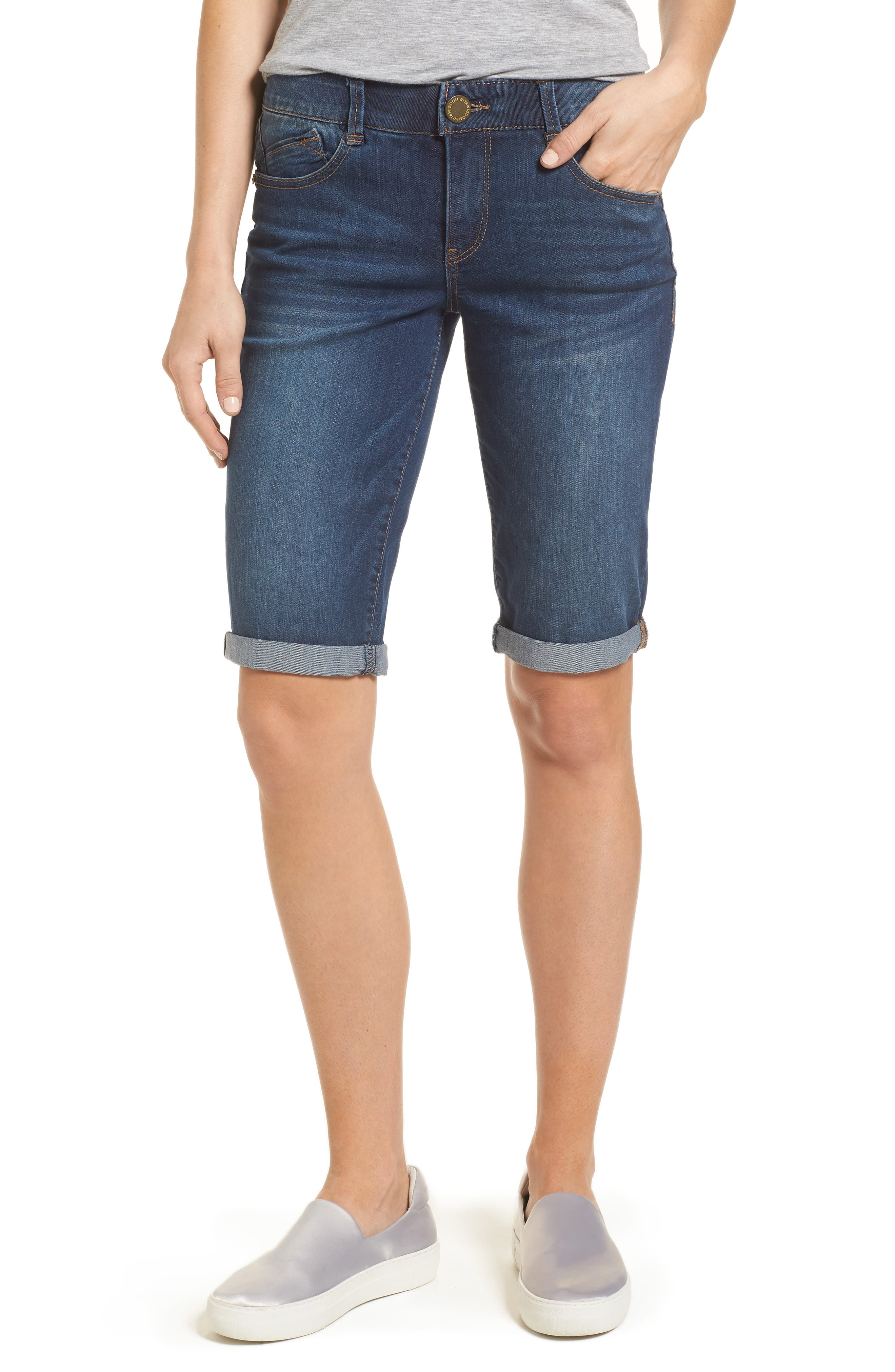 WIT & WISDOM Ab-solution Cuffed Denim Shorts, Main, color, BLUE