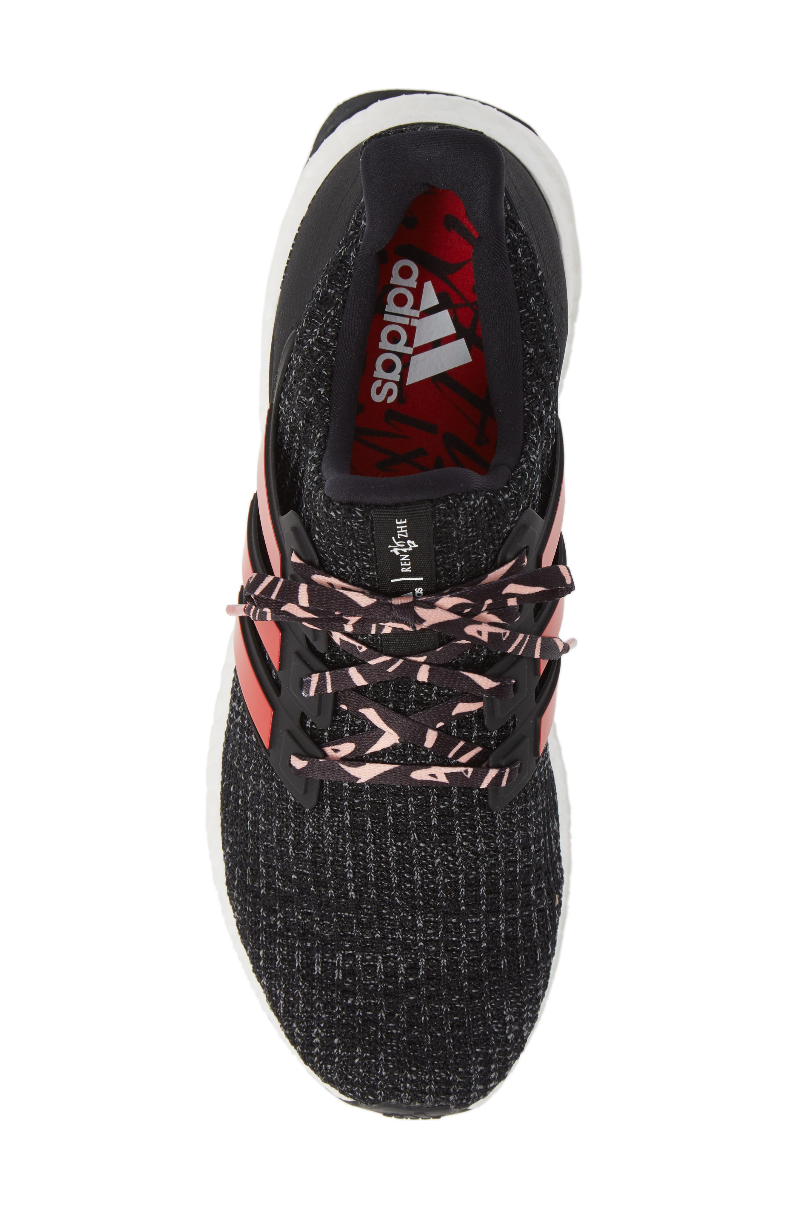 ADIDAS, 'UltraBoost' Running Shoe, Alternate thumbnail 5, color, CORE BLACK/ SCARLET/ GREY