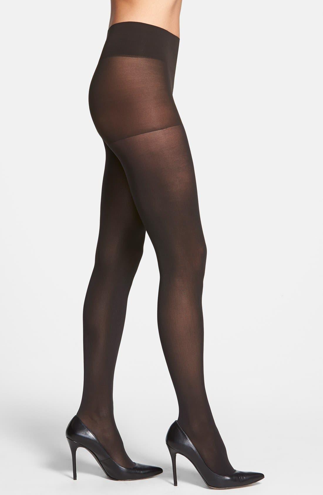 DKNY Opaque Control Top Tights, Main, color, BLACK
