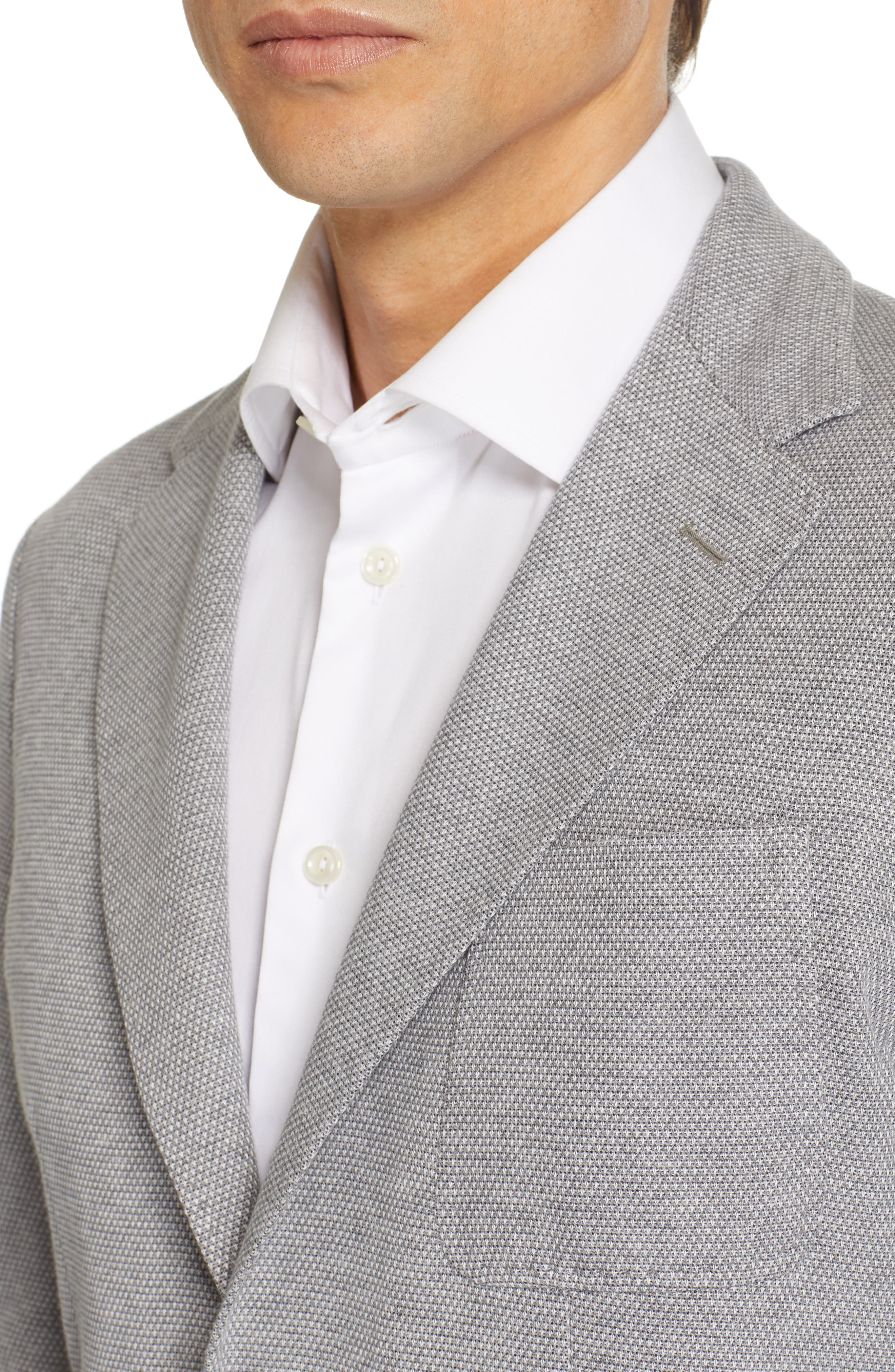 CANALI, Classic Fit Washed Sport Coat, Alternate thumbnail 4, color, LIGHT GREY
