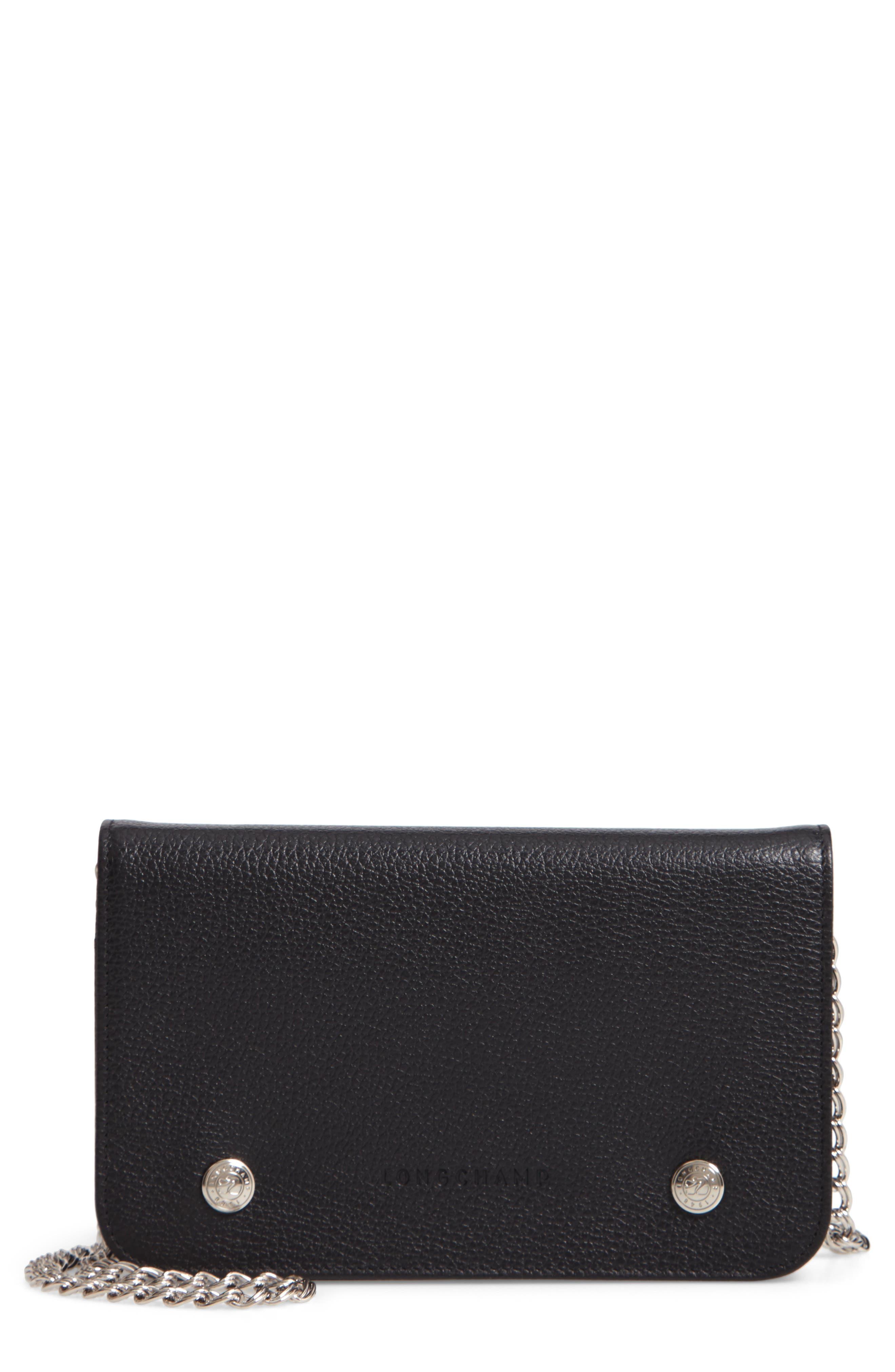 LONGCHAMP, Le Foulonné Leather Wallet on a Chain, Main thumbnail 1, color, BLACK