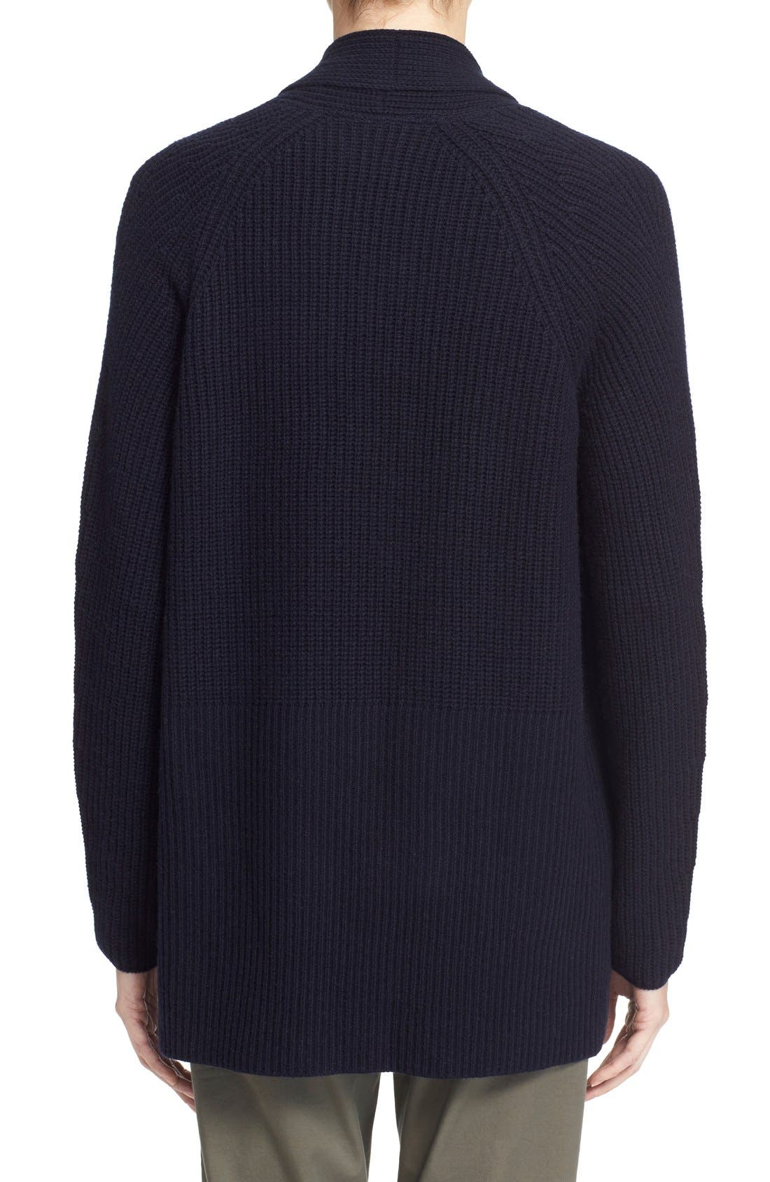 VINCE, Directional Rib Wool & Cashmere Cardigan, Alternate thumbnail 3, color, 403