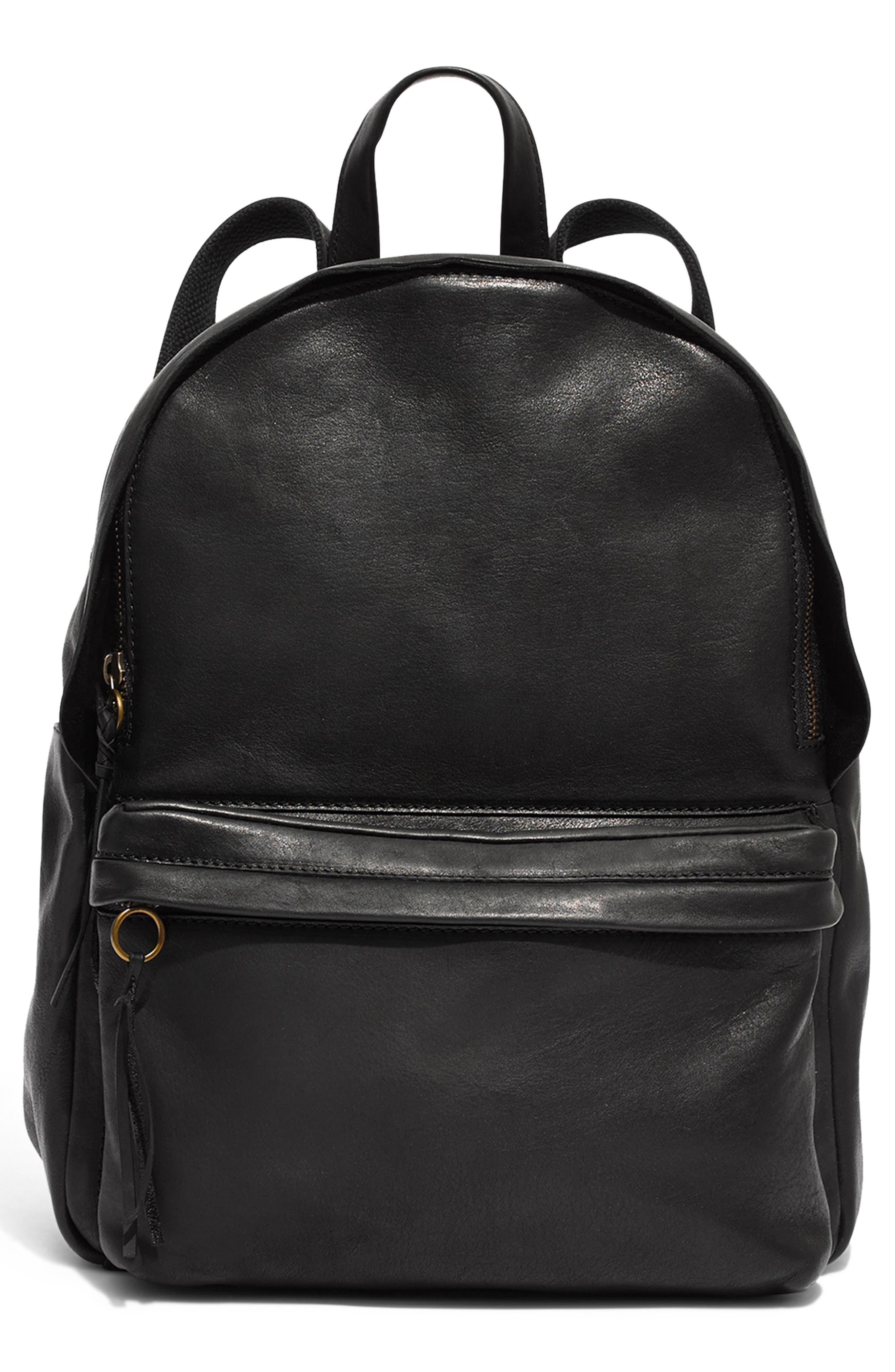 MADEWELL, Lorimer Leather Backpack, Main thumbnail 1, color, TRUE BLACK