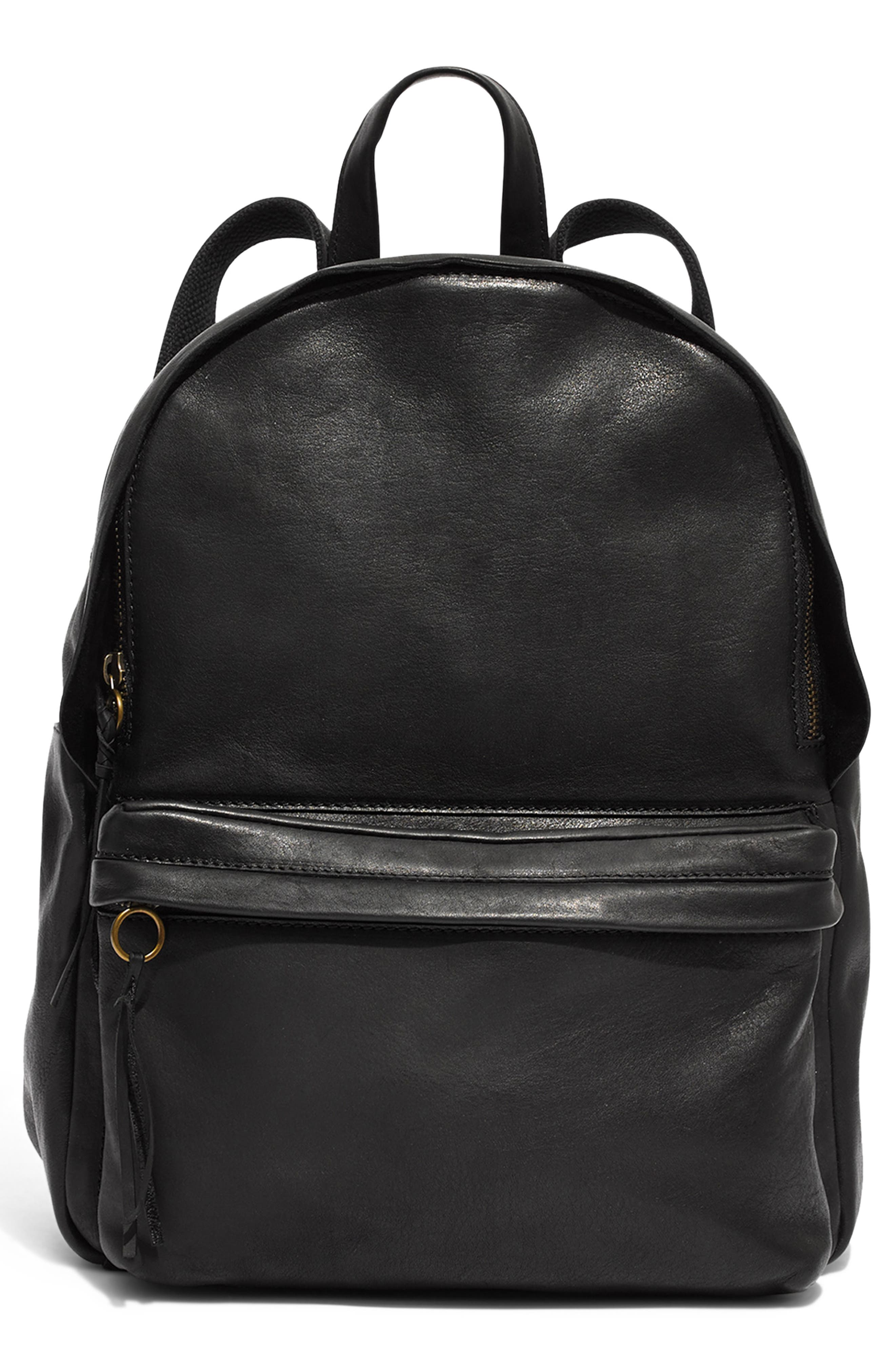 MADEWELL Lorimer Leather Backpack, Main, color, TRUE BLACK