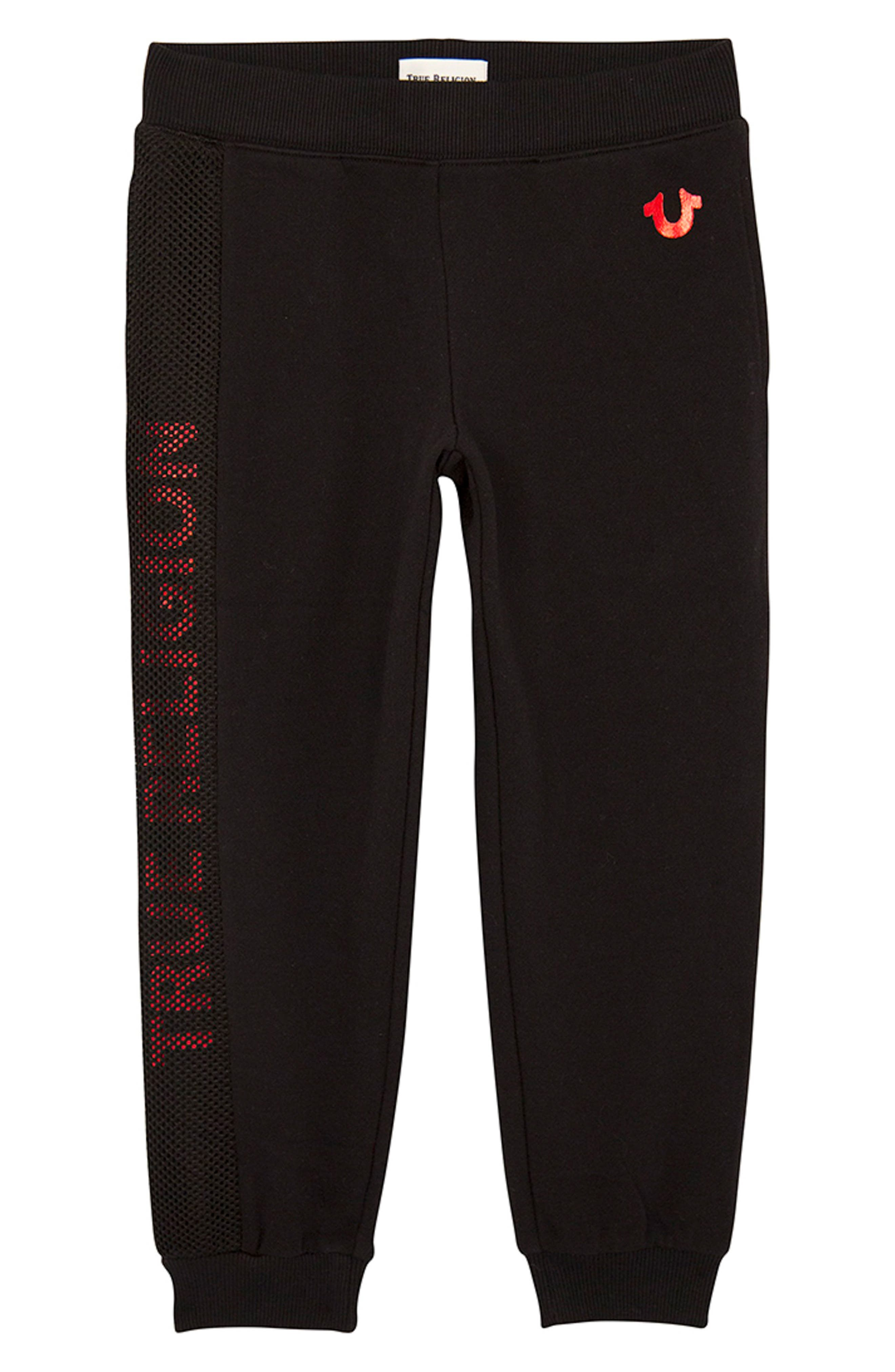 Boys True Religion Brand Jeans Mesh Logo Sweatpants Size L (1012)  Black