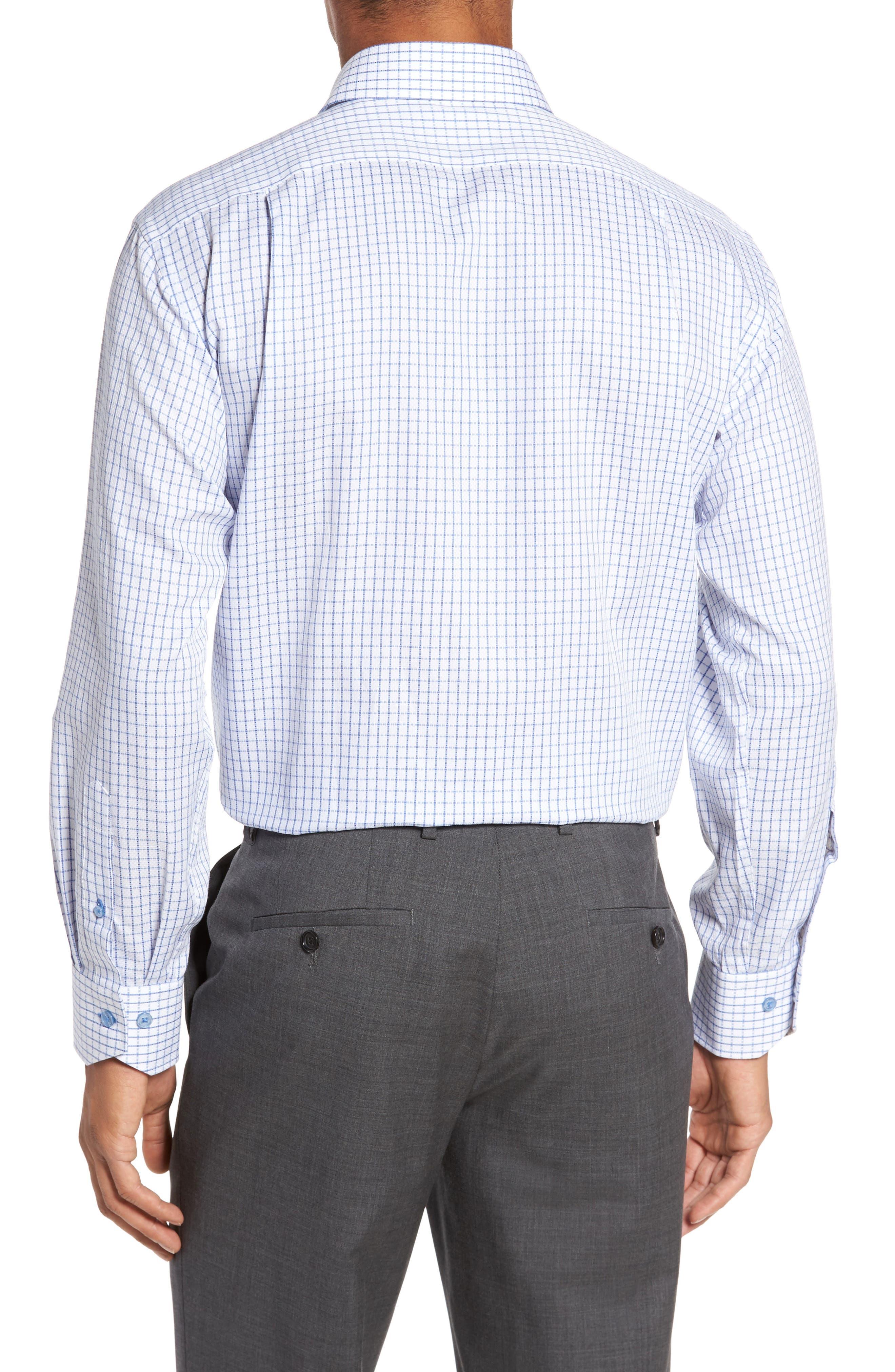 LORENZO UOMO, Trim Fit Textured Check Dress Shirt, Alternate thumbnail 2, color, LIGHT BLUE