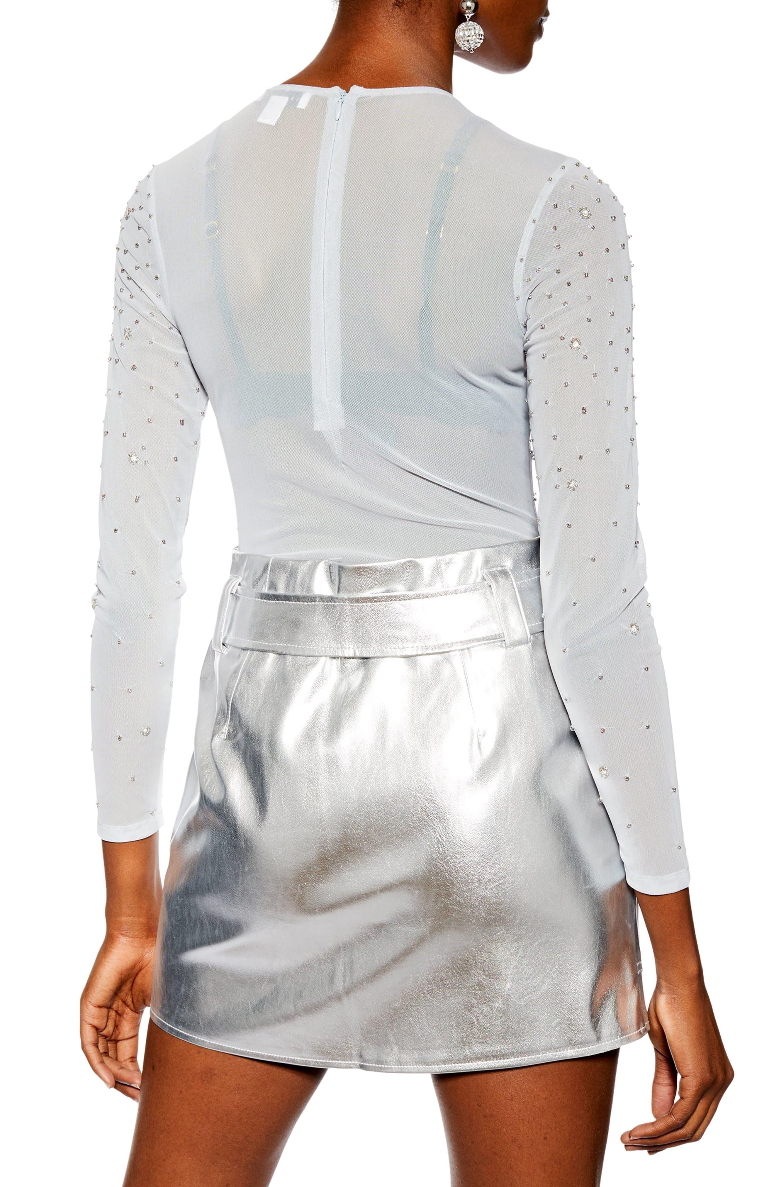 TOPSHOP, Embellished Floral Bodysuit, Alternate thumbnail 3, color, 100