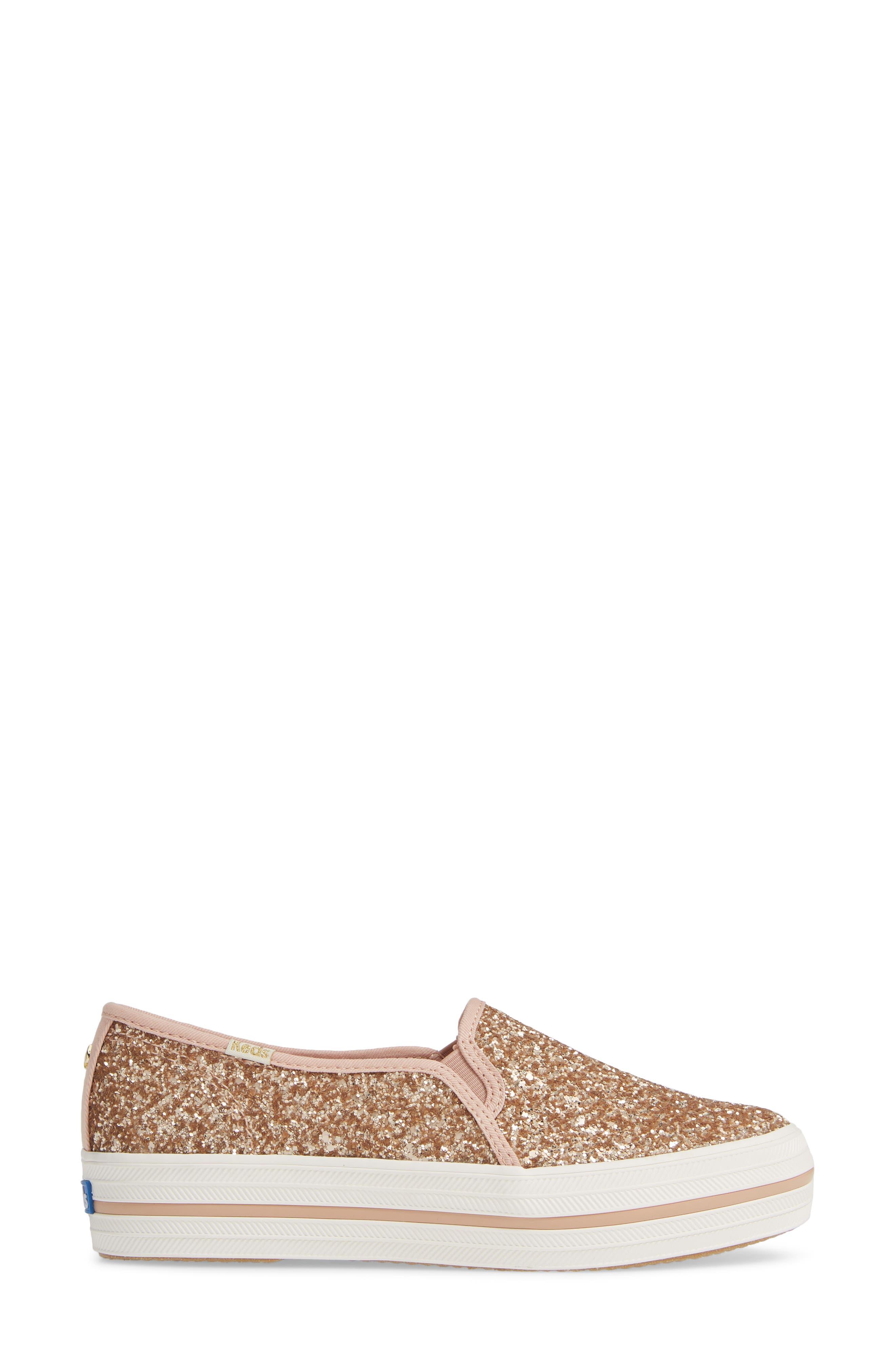 KEDS<SUP>®</SUP> FOR KATE SPADE NEW YORK, triple decker glitter slip-on sneaker, Alternate thumbnail 3, color, ROSE GOLD