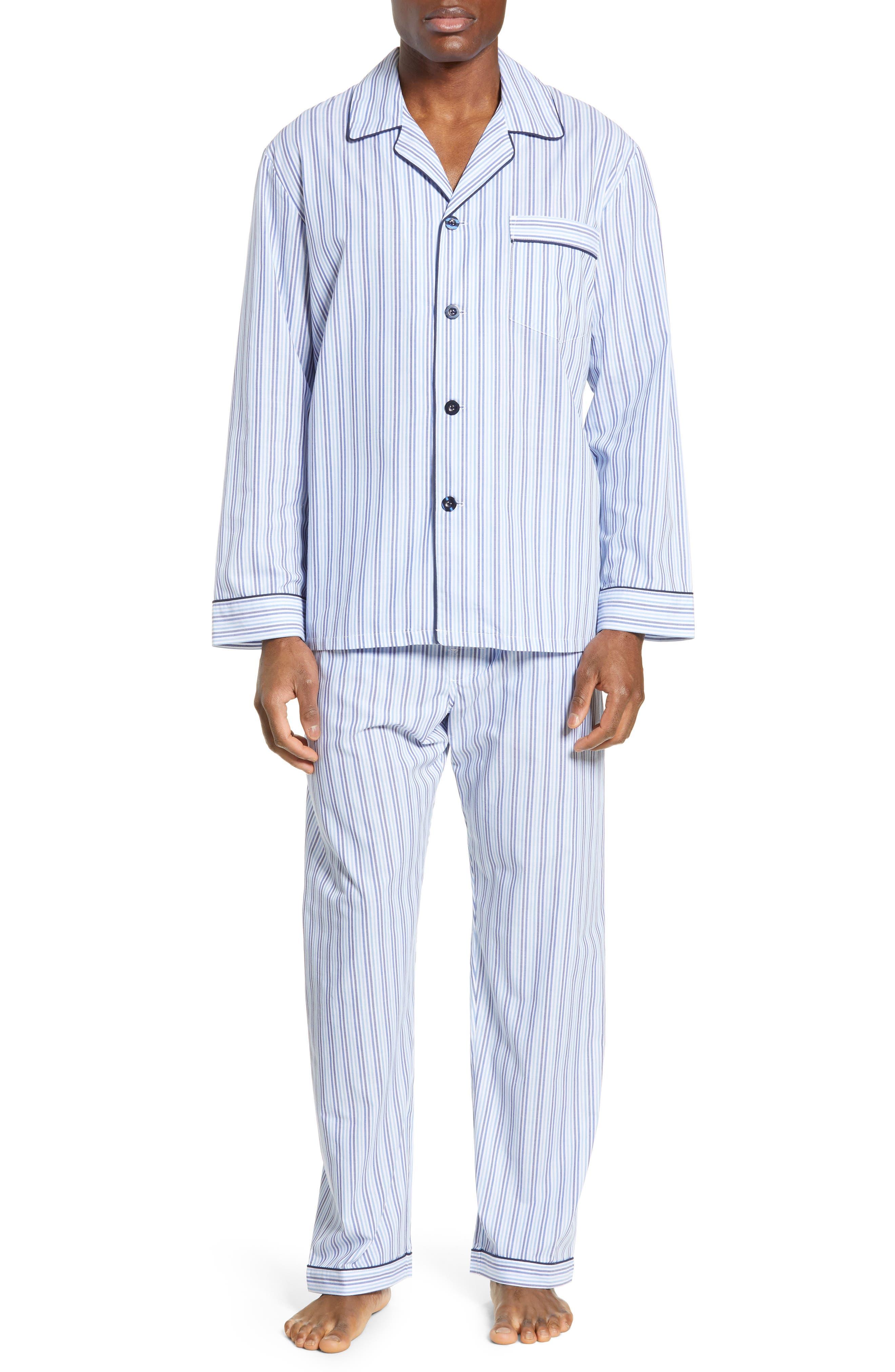 MAJESTIC INTERNATIONAL, Easy Care Pajamas, Main thumbnail 1, color, SKY BLUE