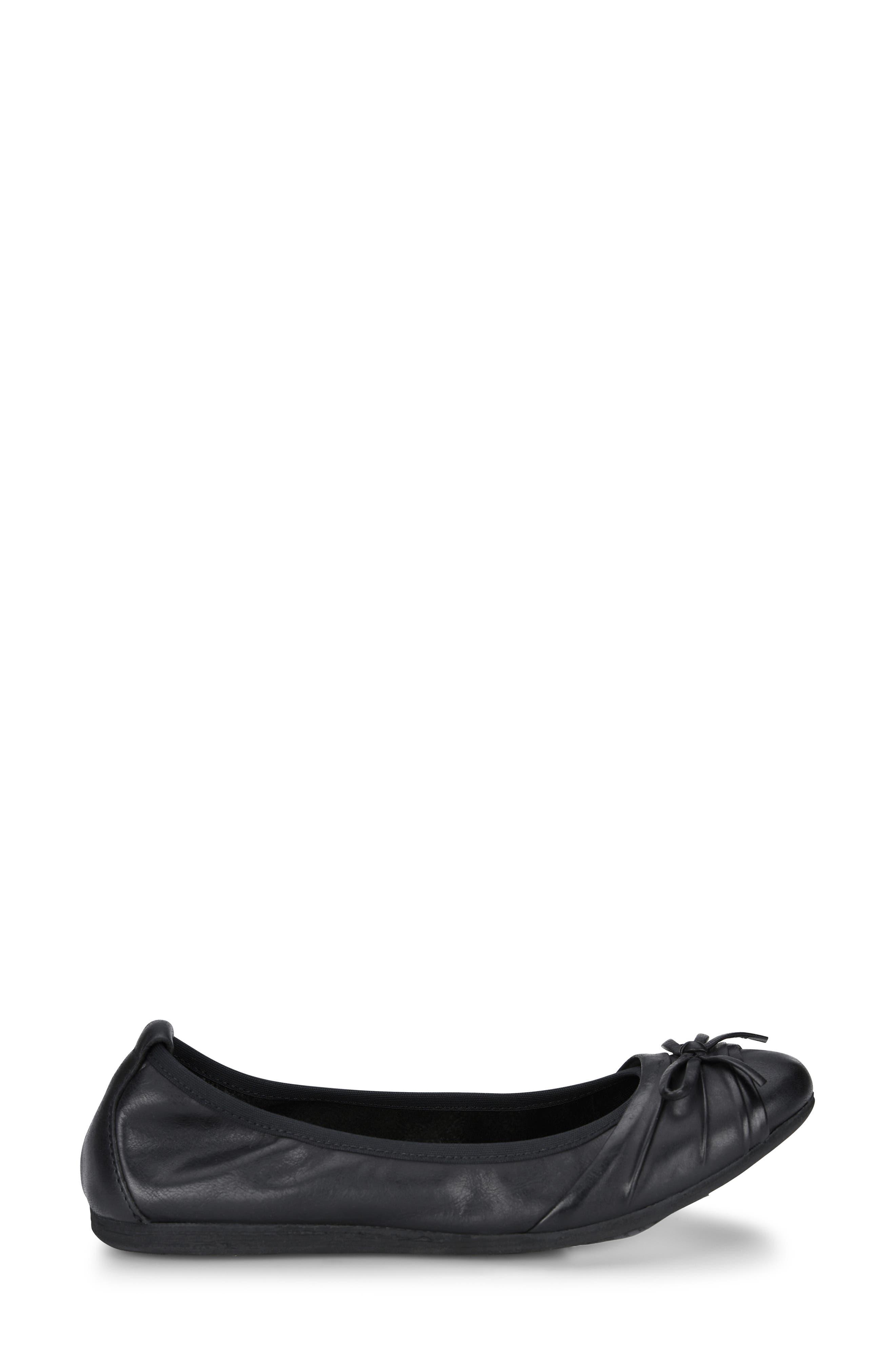 BØRN, Chelan Ballet Flat, Alternate thumbnail 3, color, BLACK LEATHER