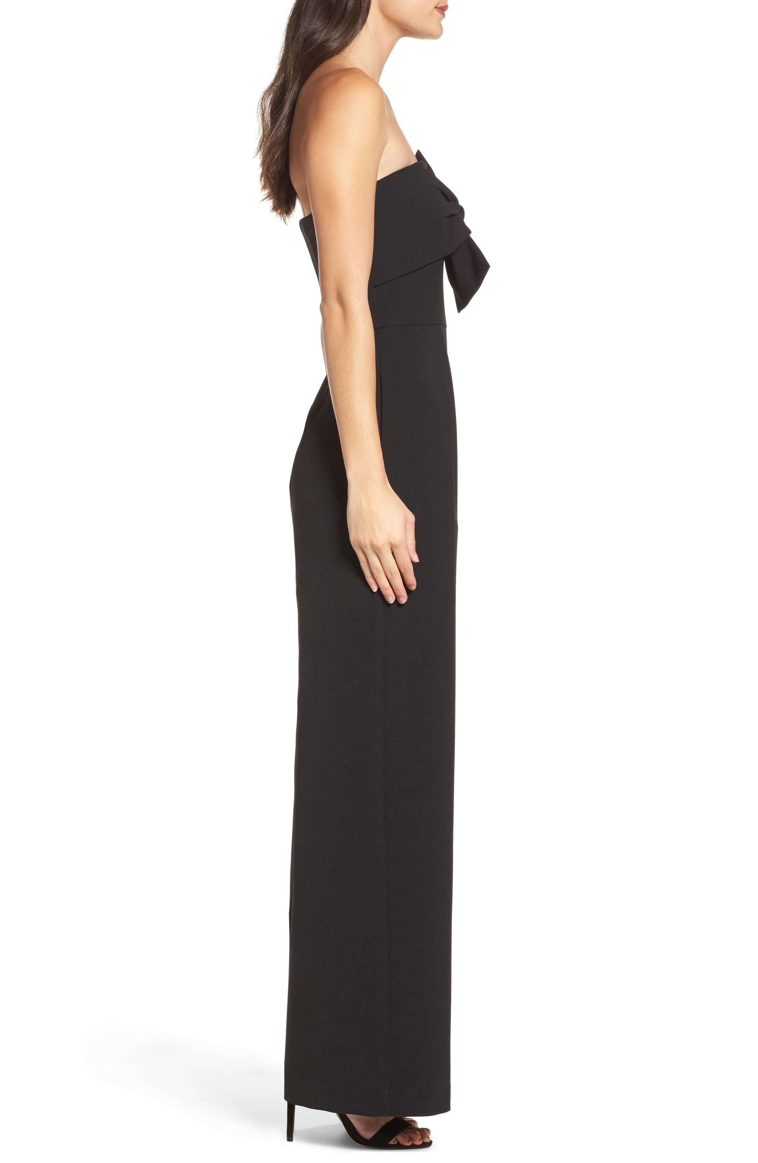 CHELSEA28, Strapless Jumpsuit, Alternate thumbnail 4, color, BLACK