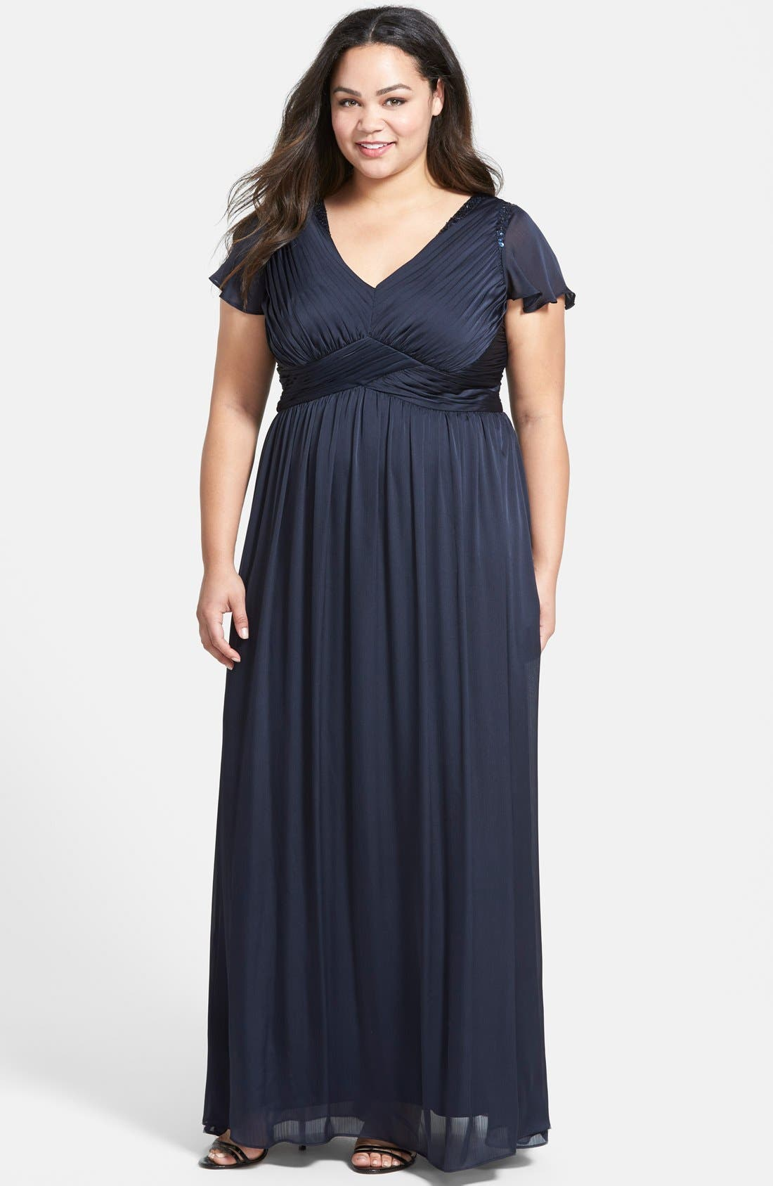 ADRIANNA PAPELL, Beaded Shoulder Pleat Chiffon Gown, Main thumbnail 1, color, 411