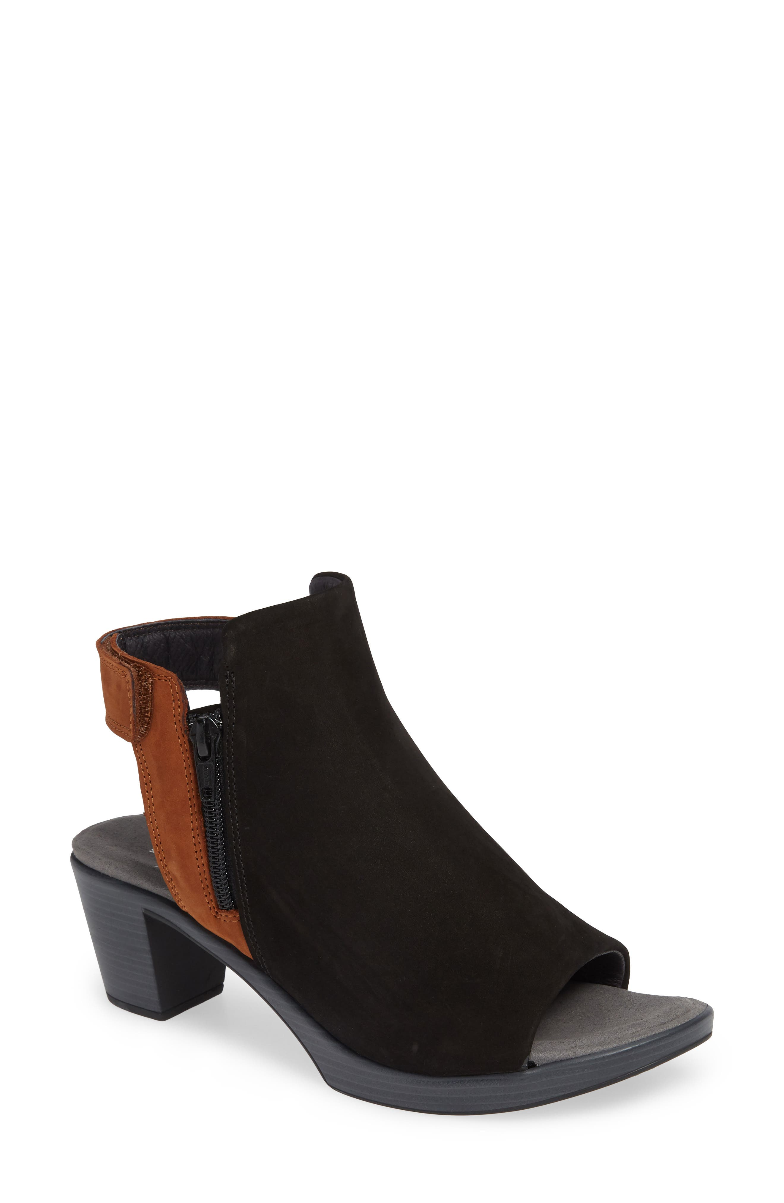NAOT Favorite Sandal, Main, color, BLACK/ HAWAIIAN BROWN NUBUCK