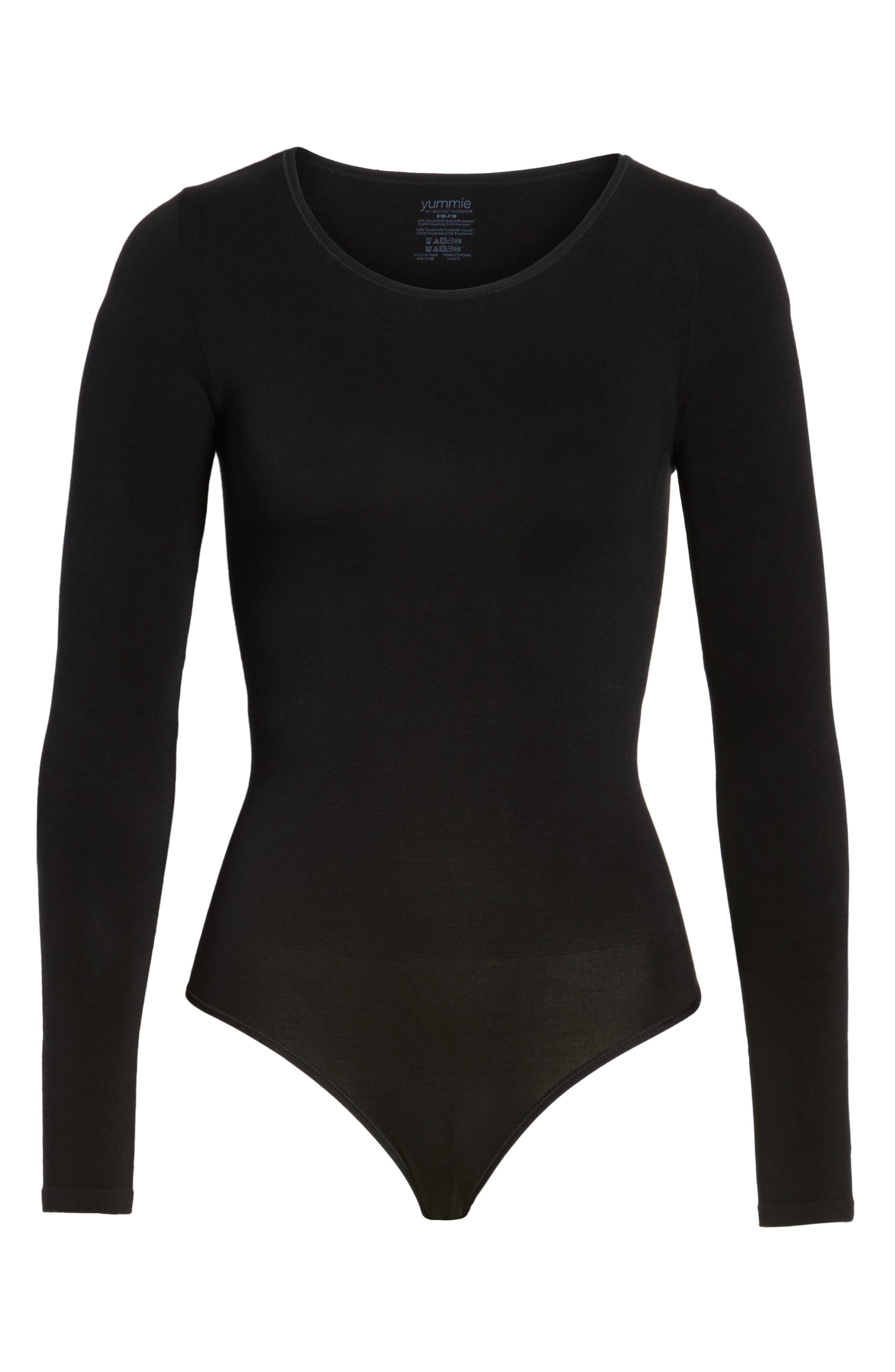 YUMMIE, Thong Bodysuit, Alternate thumbnail 6, color, BLACK