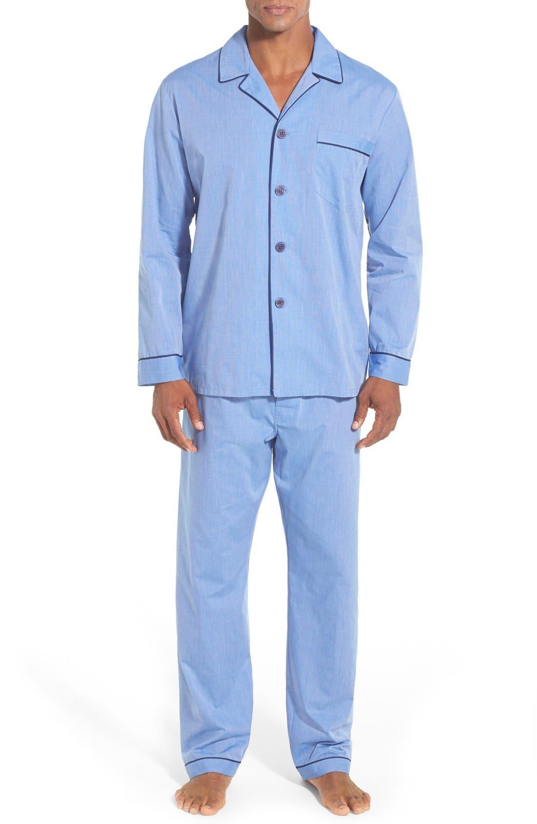 MAJESTIC INTERNATIONAL, Cotton Blend Pajamas, Main thumbnail 1, color, BLUE