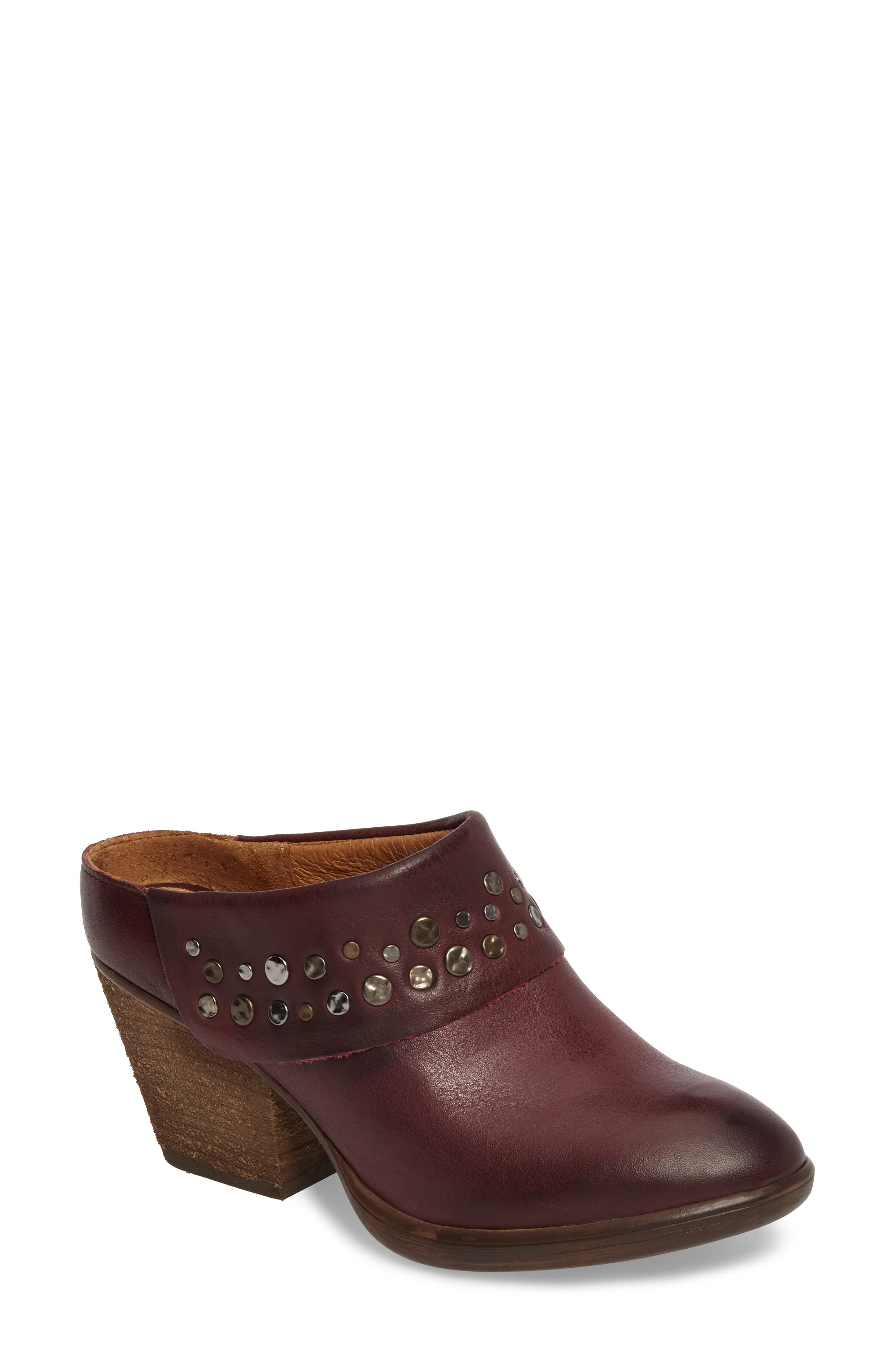 SÖFFT Gila Studded Mule, Main, color, MARSALA RED LEATHER