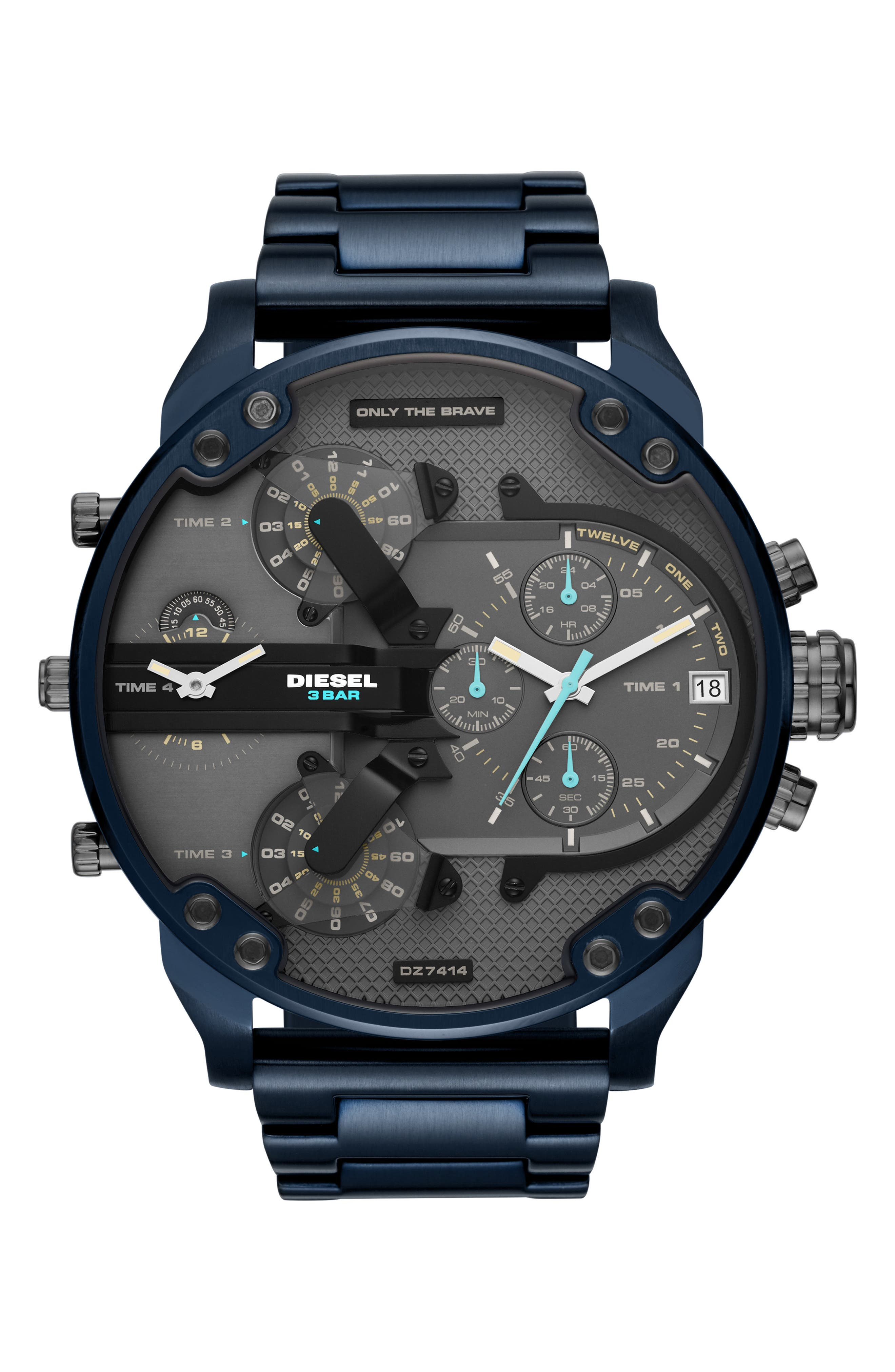 DIESEL<SUP>®</SUP> Mr. Daddy 2.0 Chronograph Bracelet Watch, 57mm, Main, color, BLUE IP
