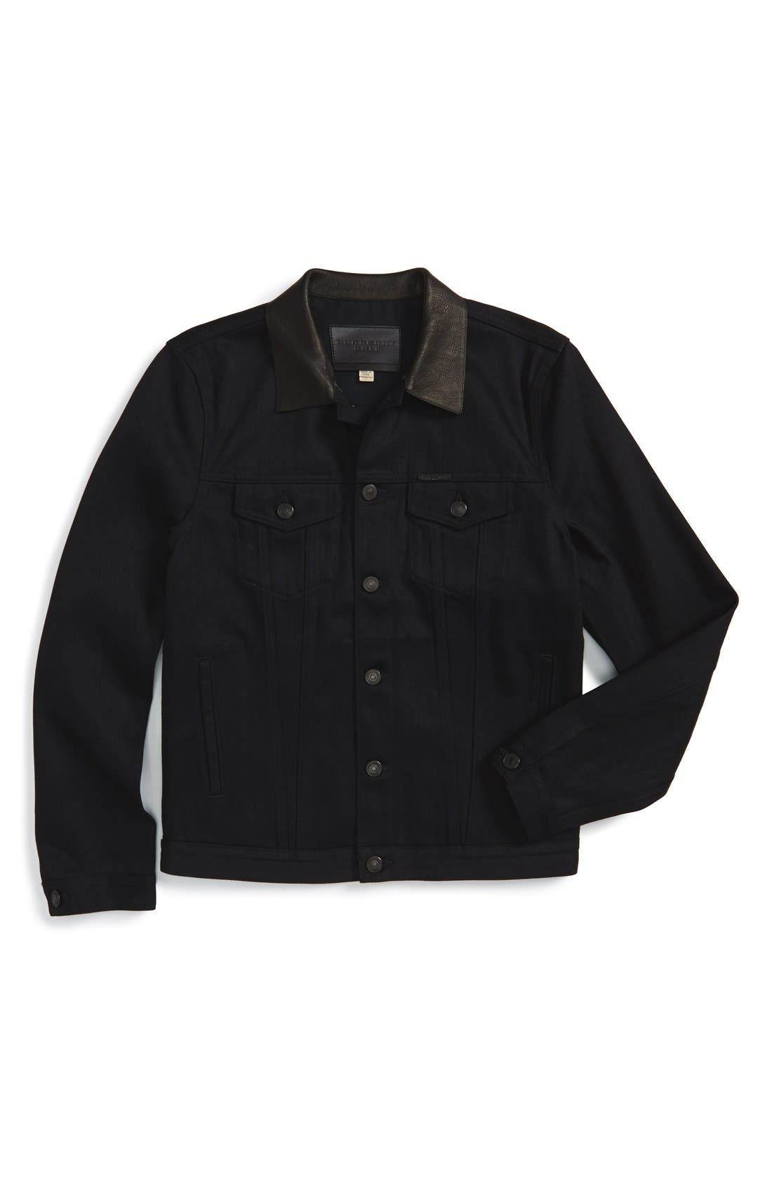BURBERRY, Brit 'Skipper' Trim Fit Denim Jacket with Leather Collar, Alternate thumbnail 3, color, 001