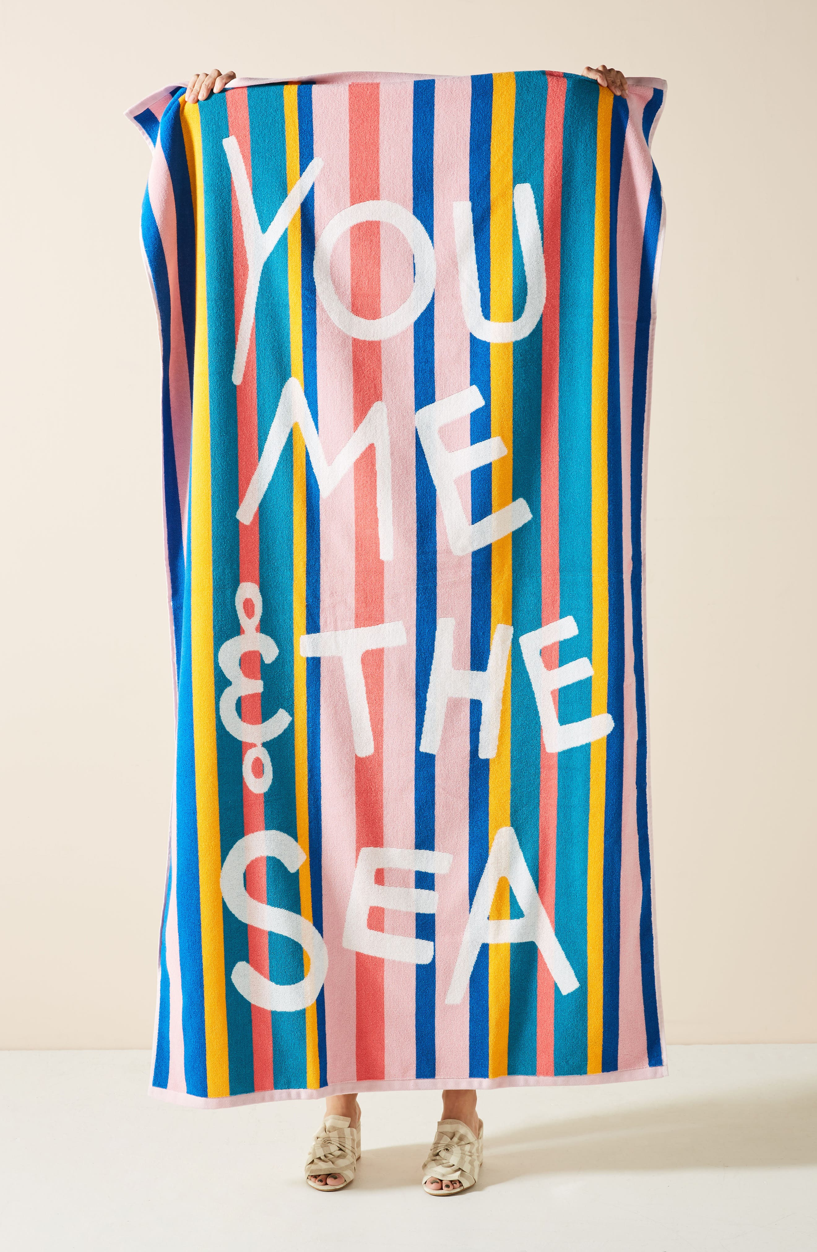 ANTHROPOLOGIE You, Me & the Sea Beach Towel, Main, color, BLUE