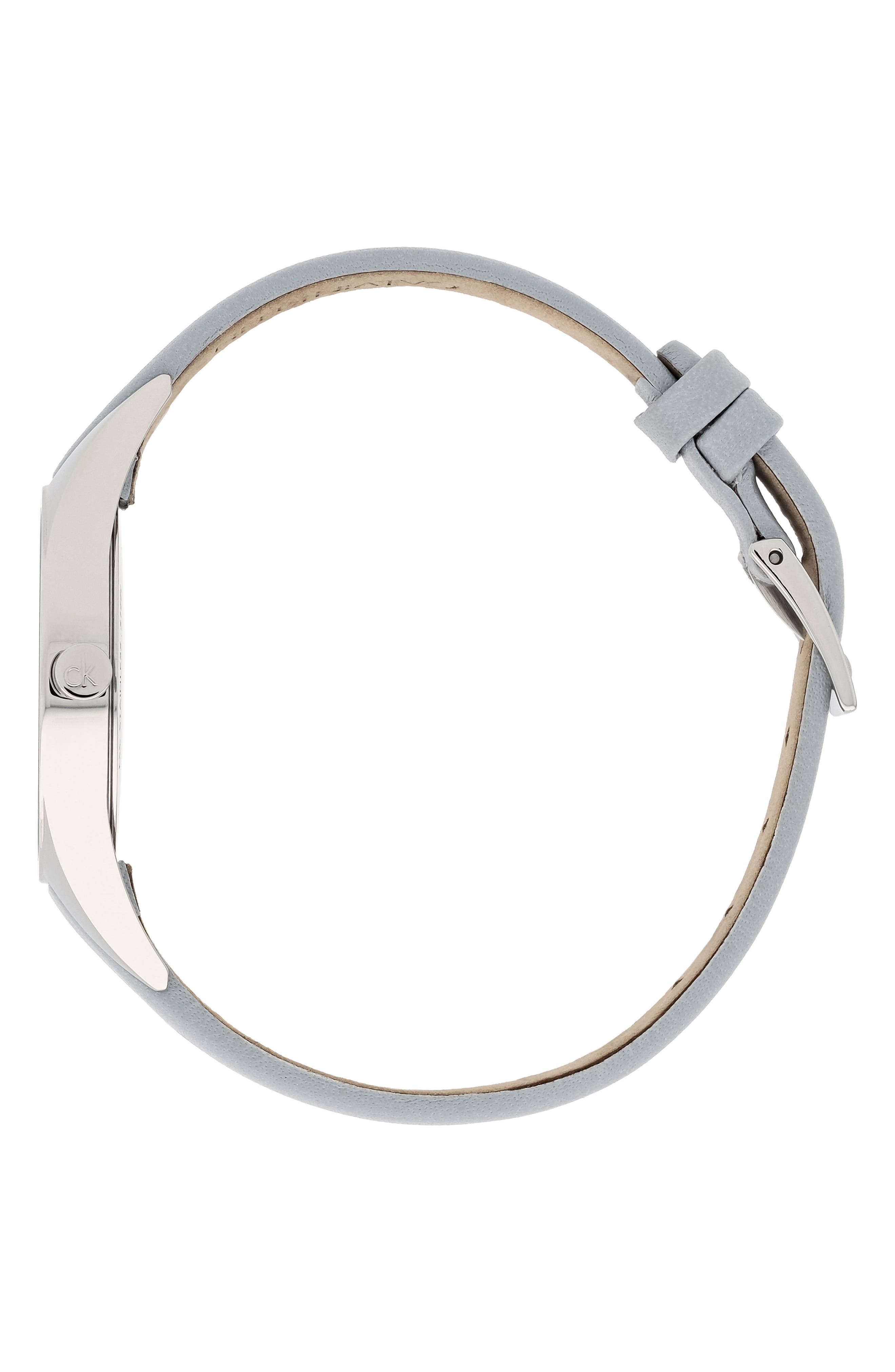 CALVIN KLEIN, Achieve Rebel Leather Band Watch, 29mm, Alternate thumbnail 3, color, GREY/ SILVER
