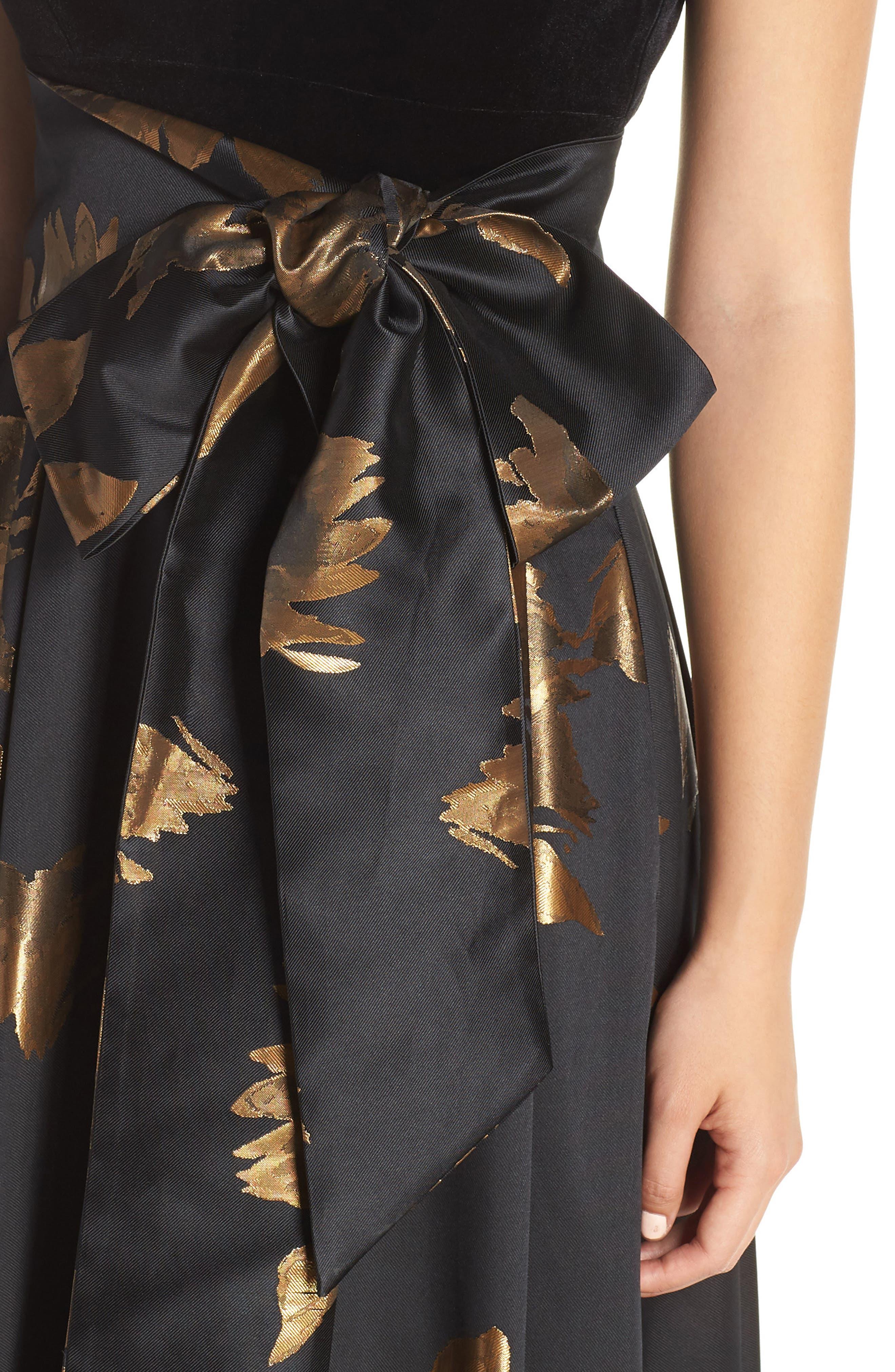 ELIZA J, Metallic Print Gown, Alternate thumbnail 5, color, 001