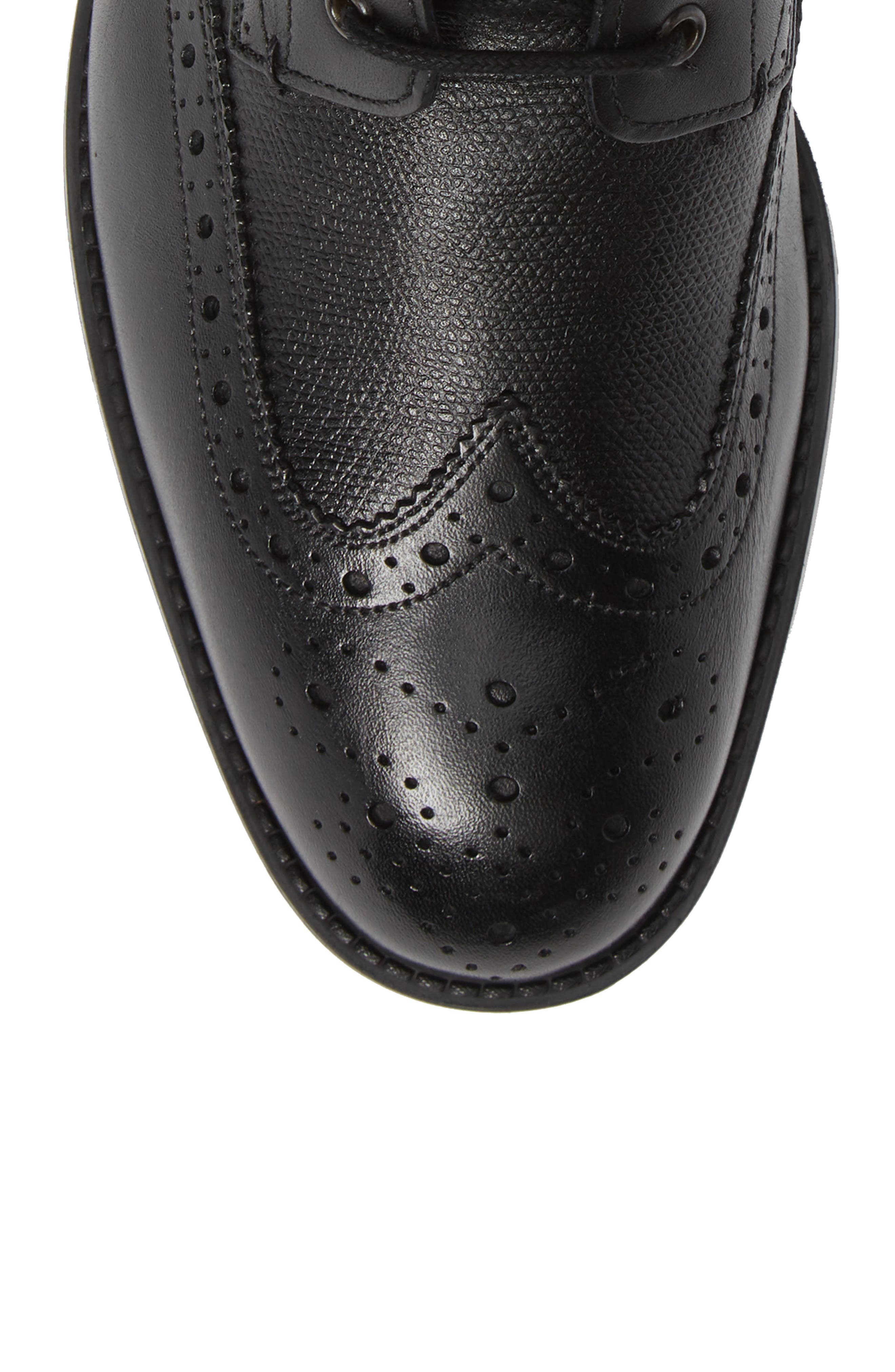 TED BAKER LONDON, Twrens Wingtip Boot, Alternate thumbnail 5, color, BLACK LEATHER