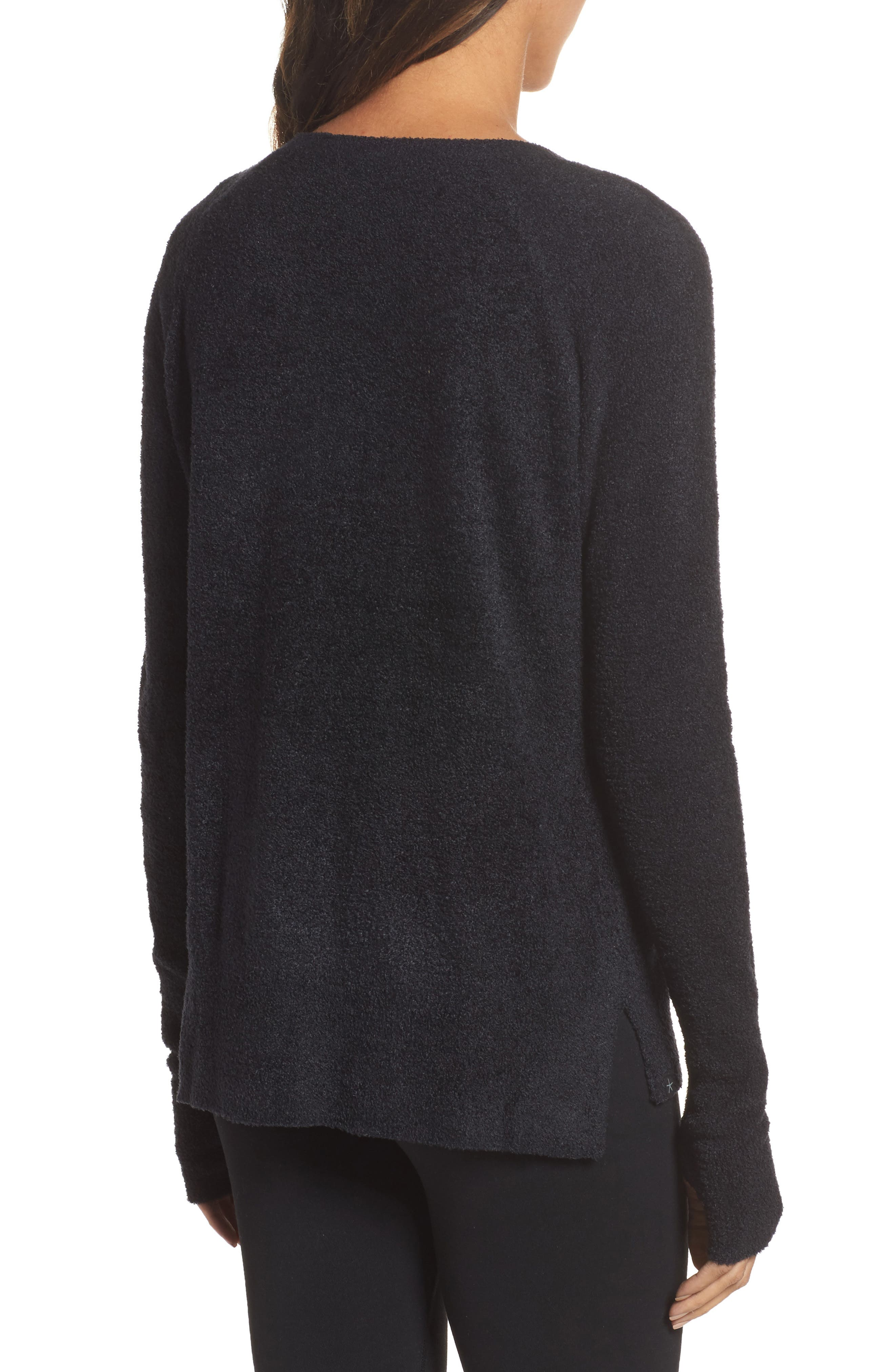 BAREFOOT DREAMS<SUP>®</SUP>, Cozychic Lite<sup>®</sup> Pullover, Alternate thumbnail 2, color, BLACK
