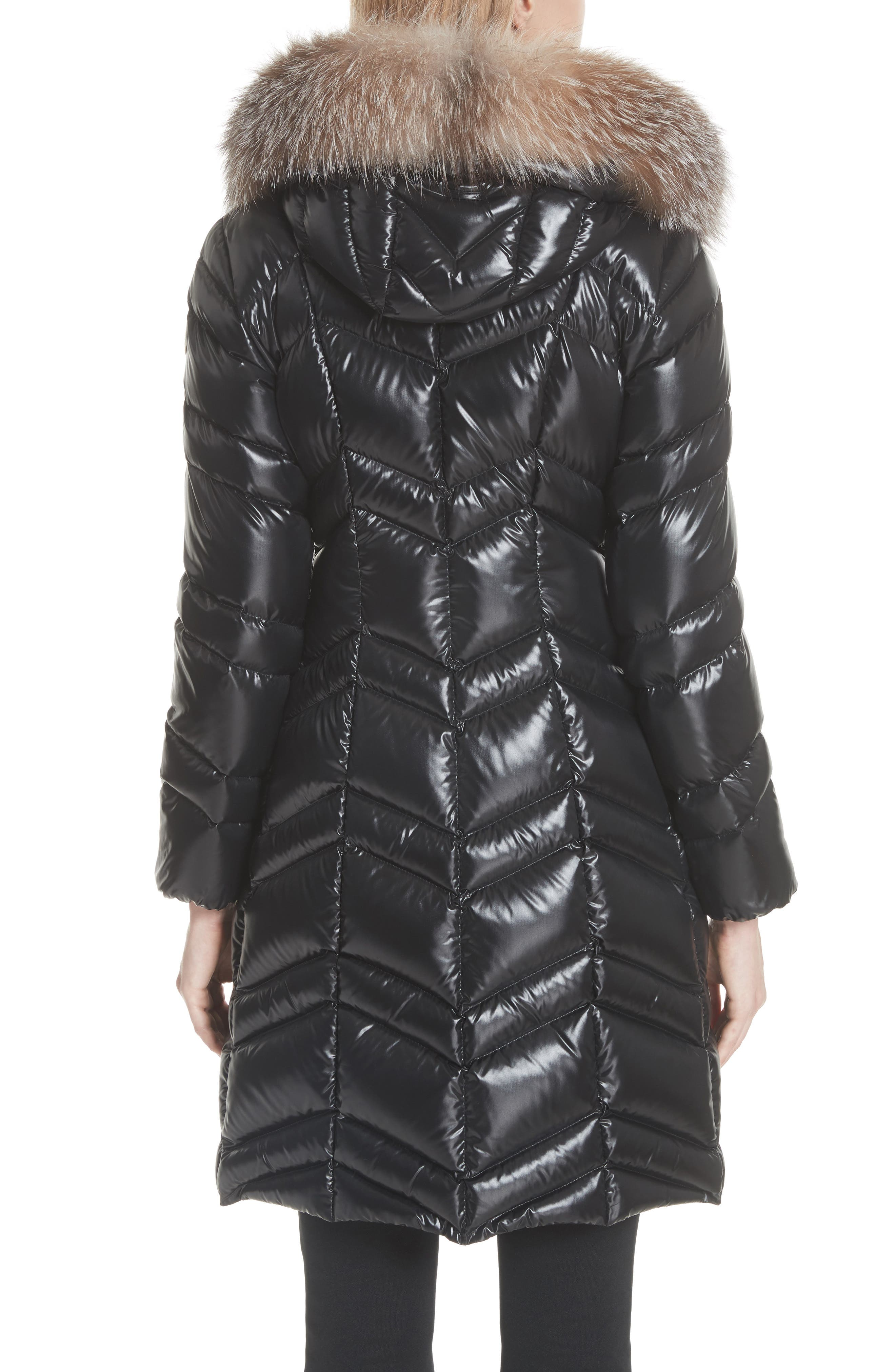 MONCLER, Fulmar Hooded Down Puffer Coat with Removable Genuine Fox Fur Trim, Alternate thumbnail 3, color, BLACK