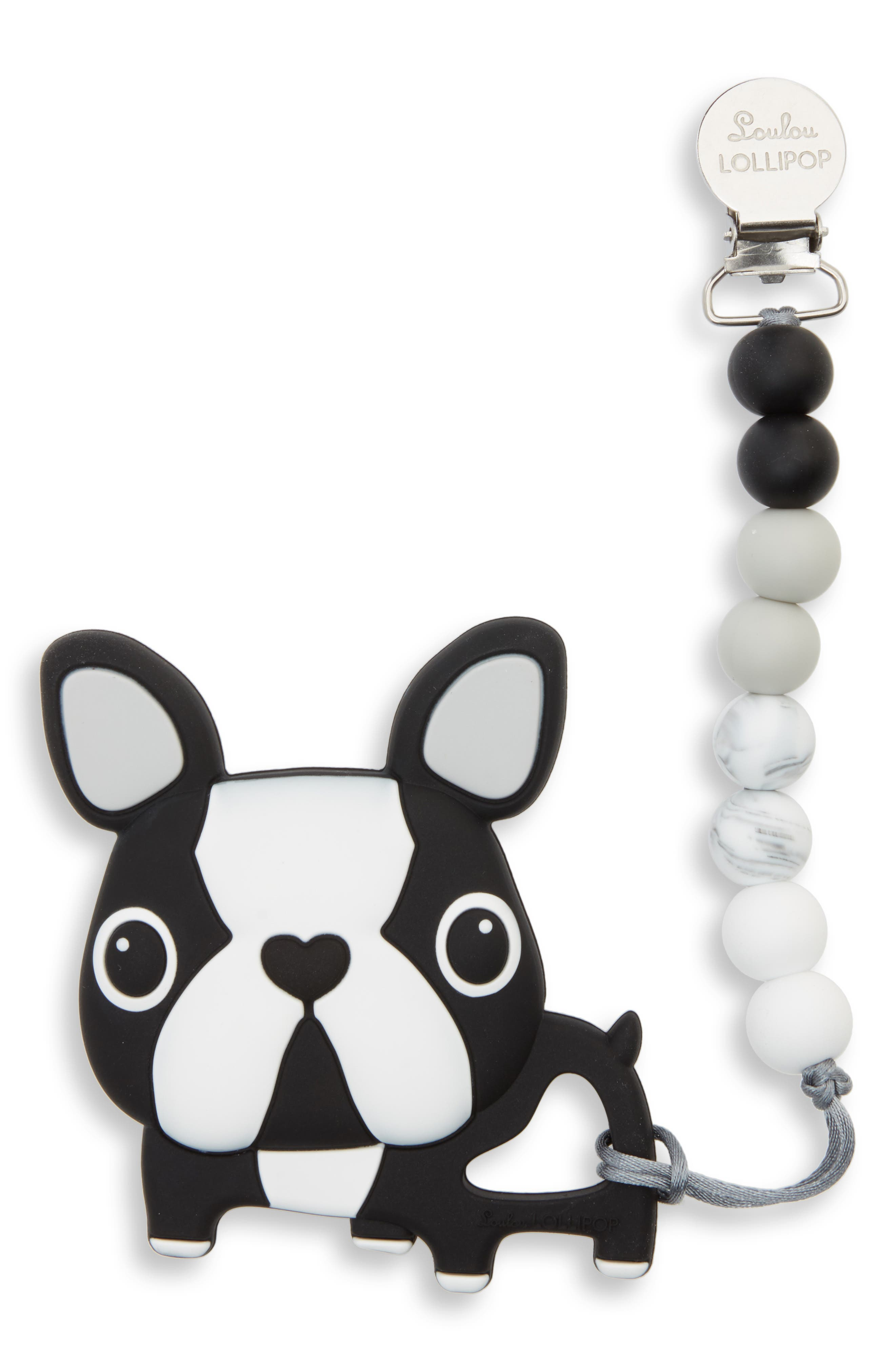 LOULOU LOLLIPOP, Boston Terrier Teething Toy, Main thumbnail 1, color, BLACK