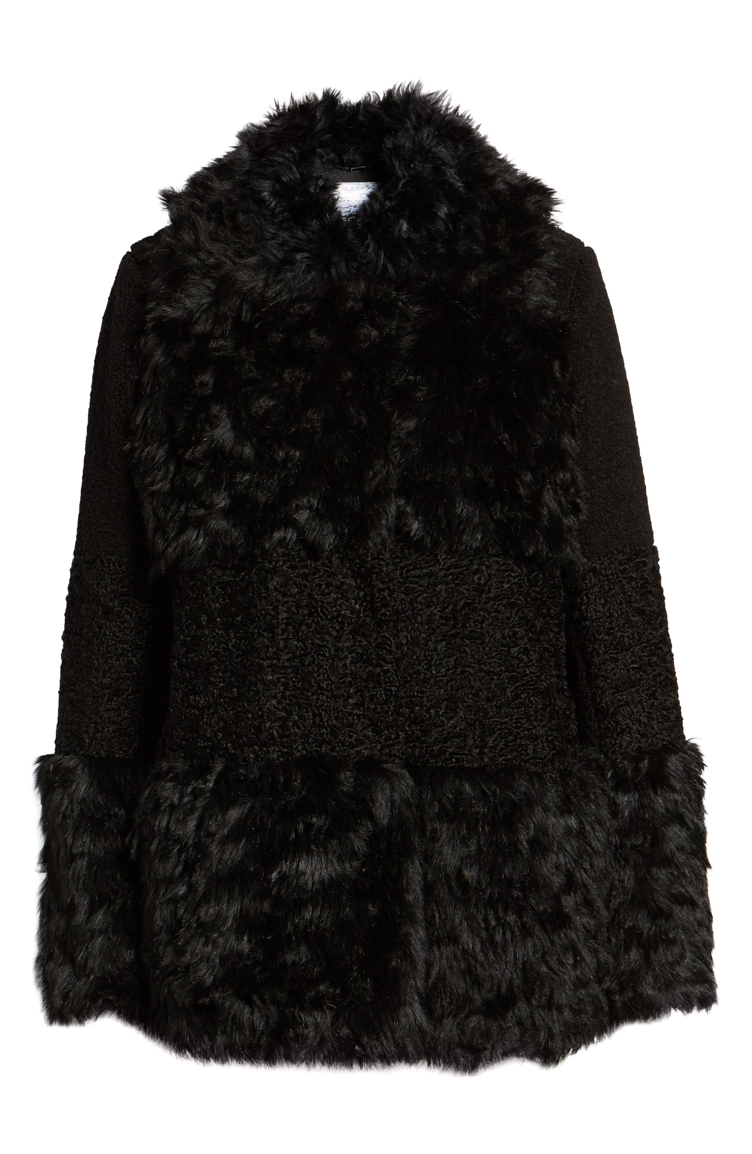 KENSIE, Faux Fur Patchwork Coat, Alternate thumbnail 6, color, 001