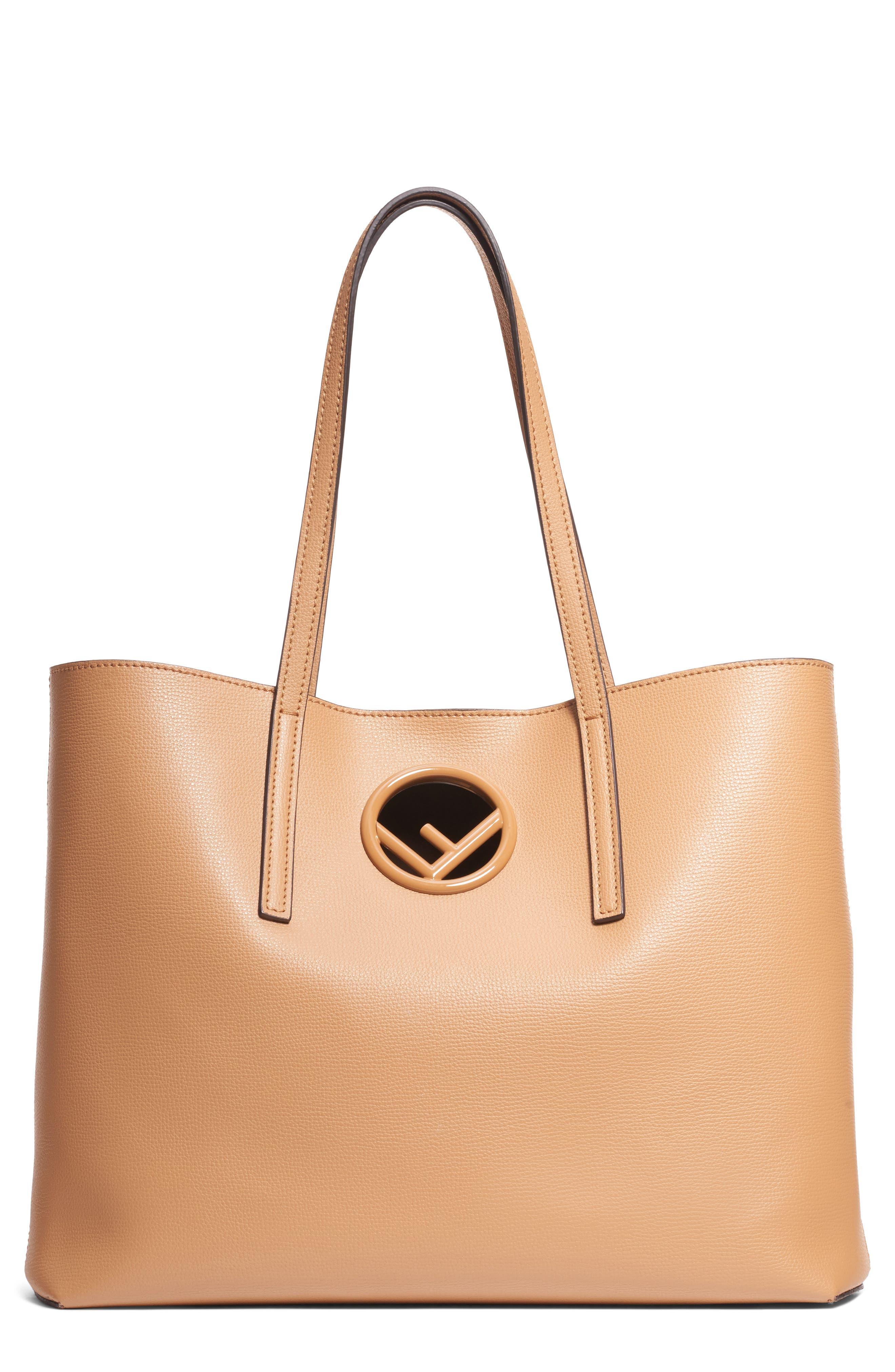 FENDI Logo Leather Shopper, Main, color, MIELE SCURO/ TAUPE