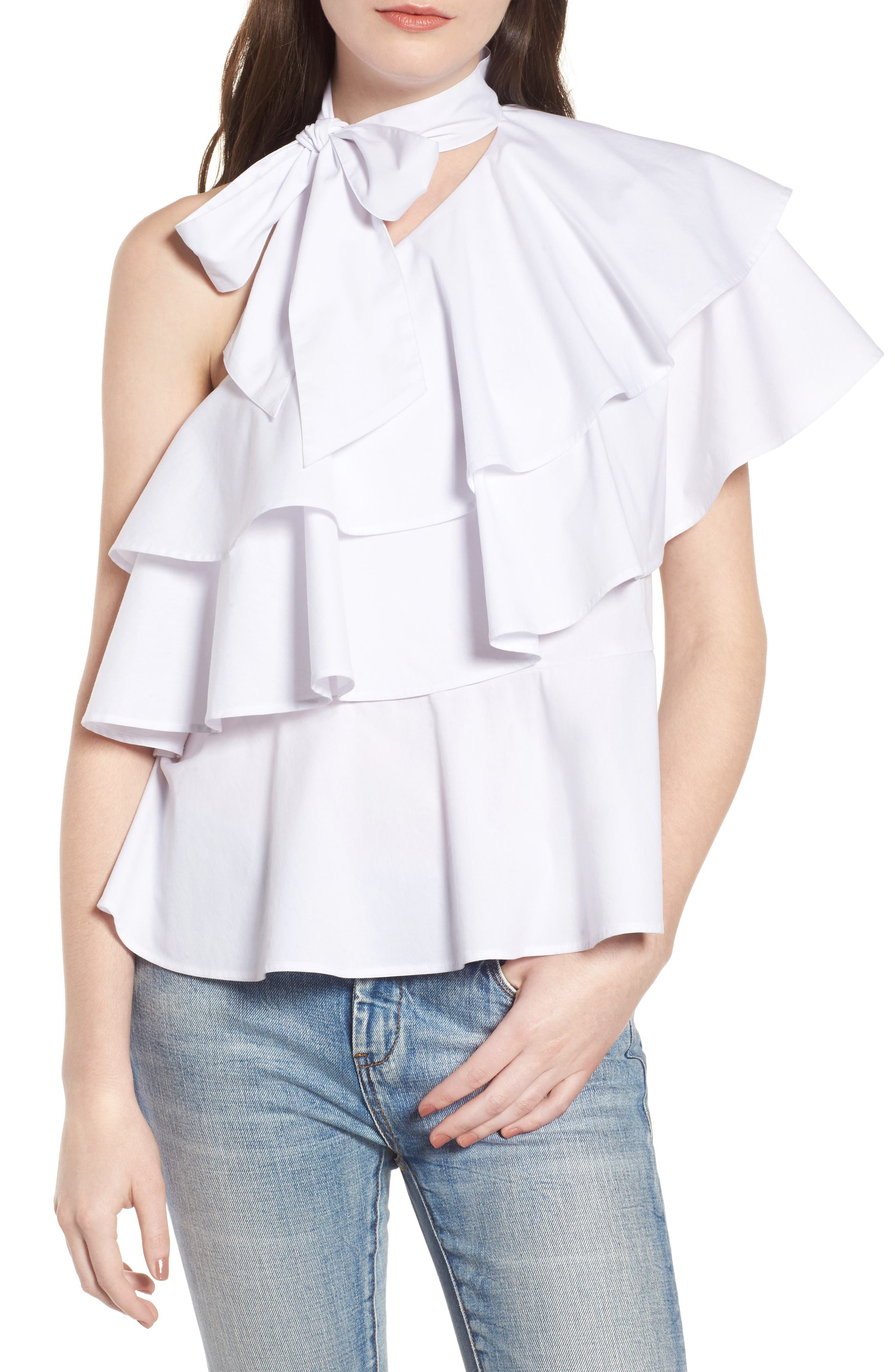 LEITH One-Shoulder Ruffle Top, Main, color, 100