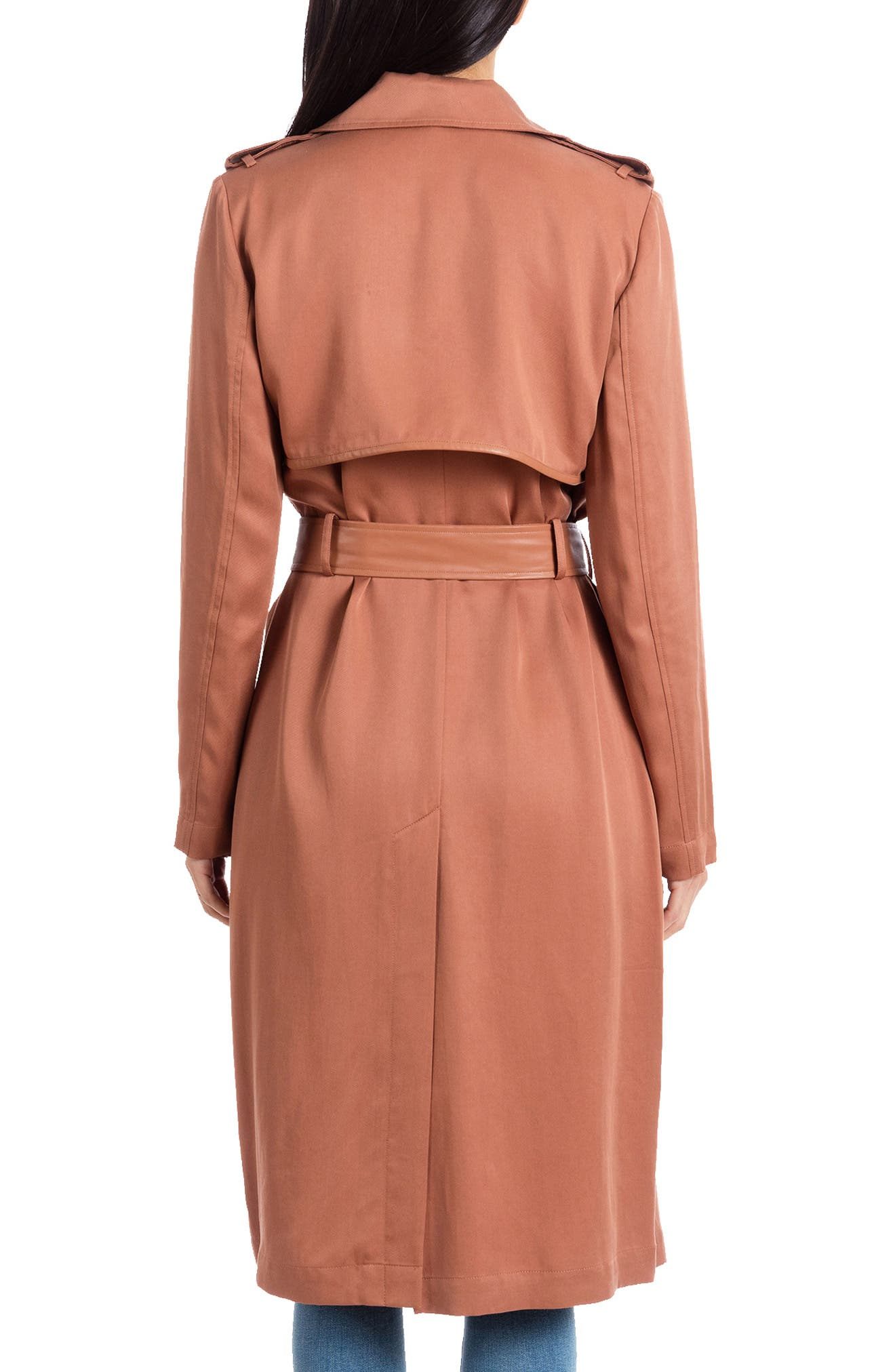 BADGLEY MISCHKA COLLECTION, Badgley Mischka Faux Leather Trim Long Trench Coat, Alternate thumbnail 2, color, CEDAR