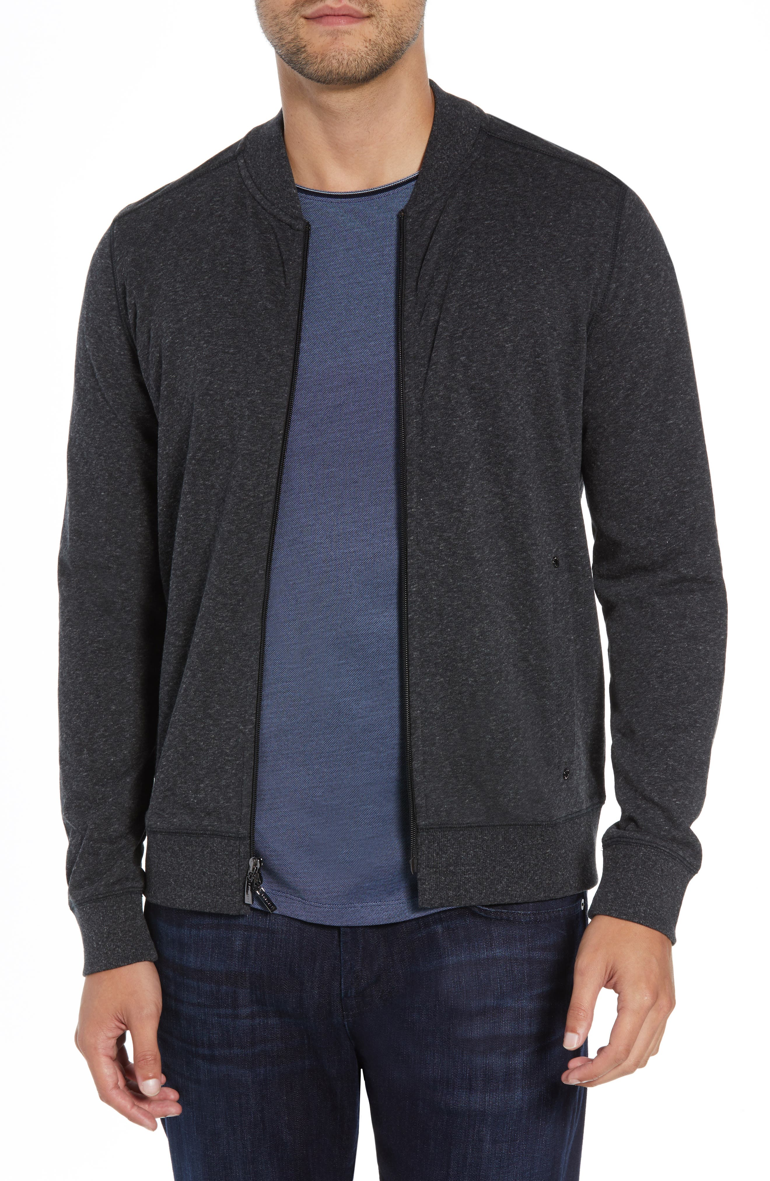 ROBERT BARAKETT, Front Zip Knit Jacket, Main thumbnail 1, color, BLACK