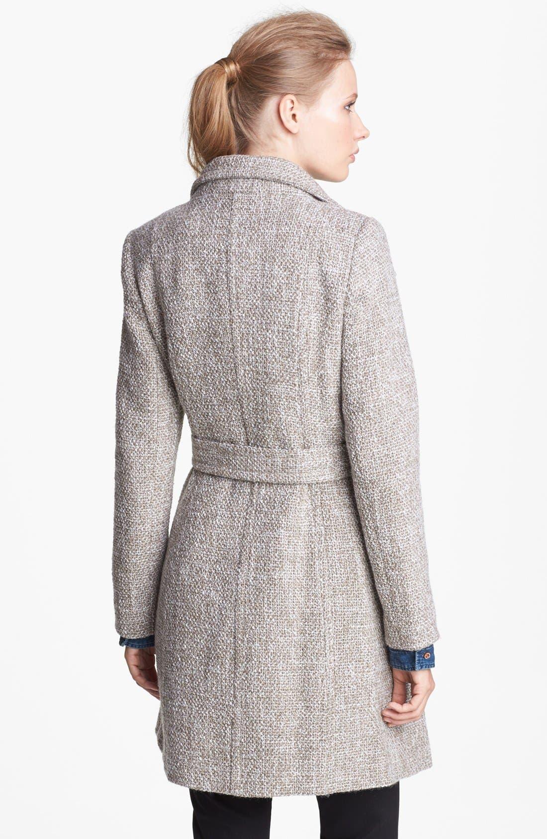 T TAHARI, 'Izzy' Belted Tweed Coat, Alternate thumbnail 3, color, 200