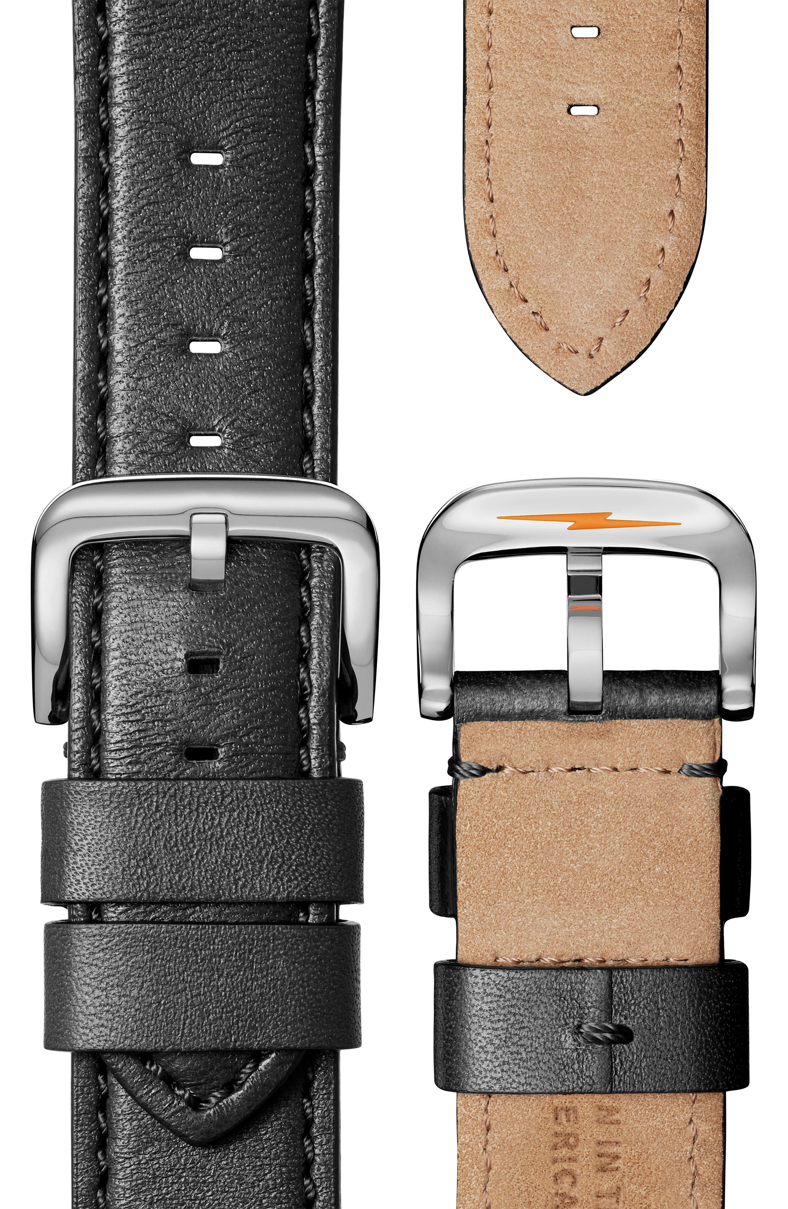 SHINOLA, The Runwell Chrono Leather Strap Watch, 47mm, Alternate thumbnail 5, color, 002
