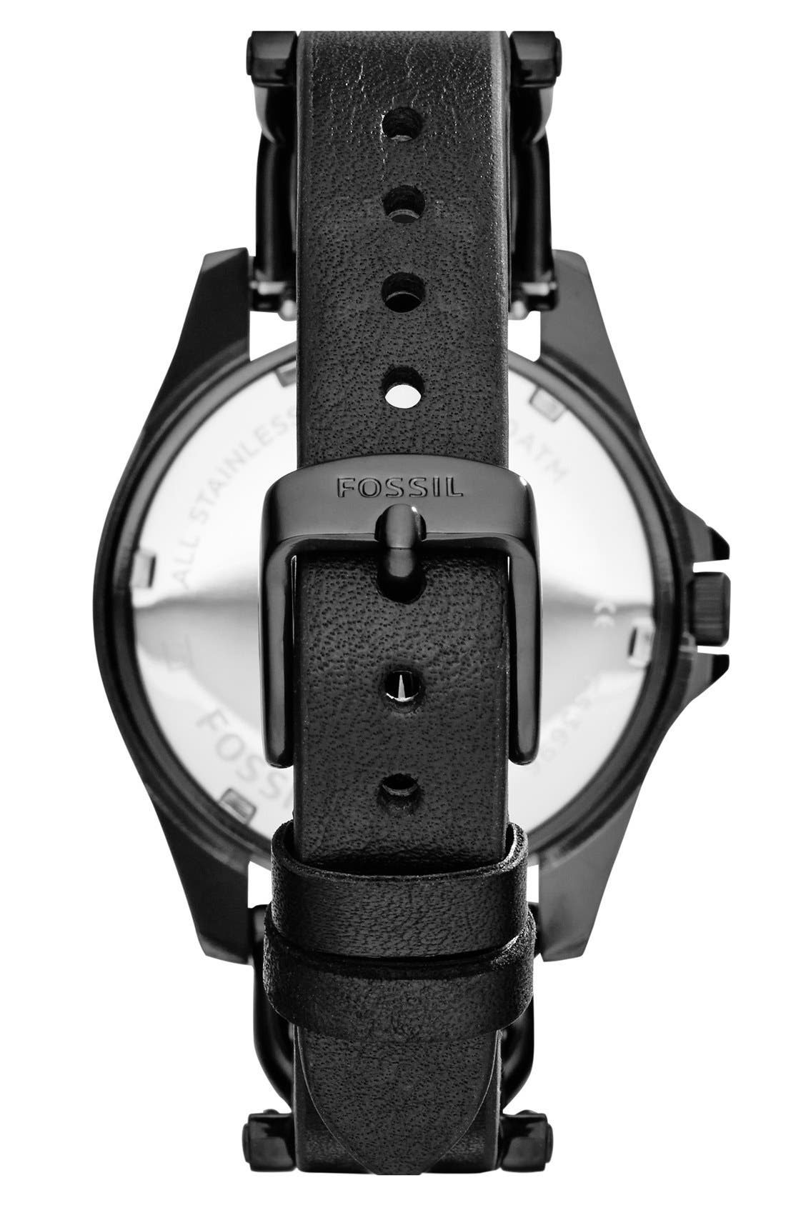 FOSSIL, 'Riley' Crystal Bezel Leather Strap Watch, 38mm, Alternate thumbnail 3, color, 001