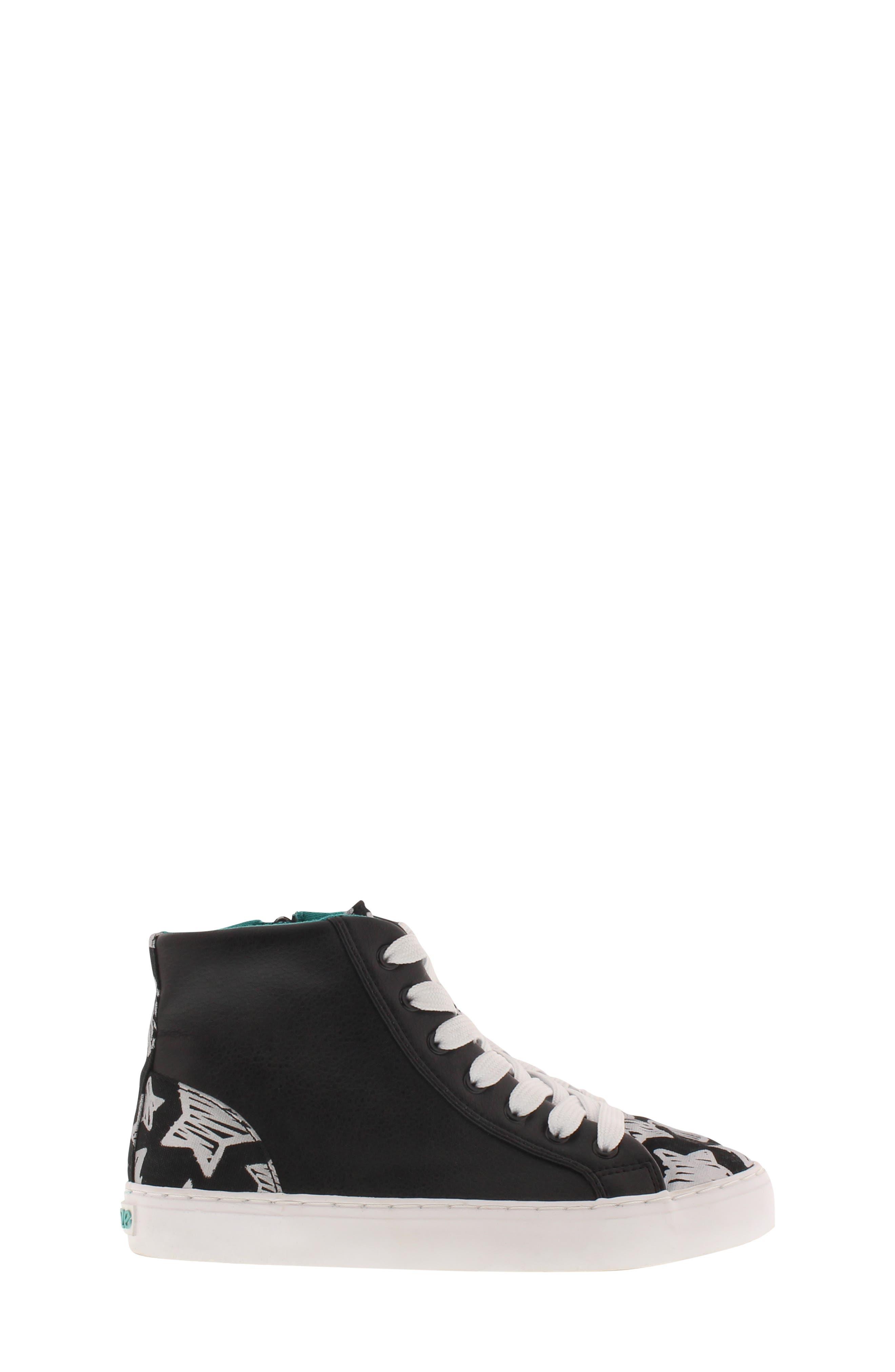 CHOOZE, Uplift Superstar High Top Sneaker, Alternate thumbnail 3, color, BLACK